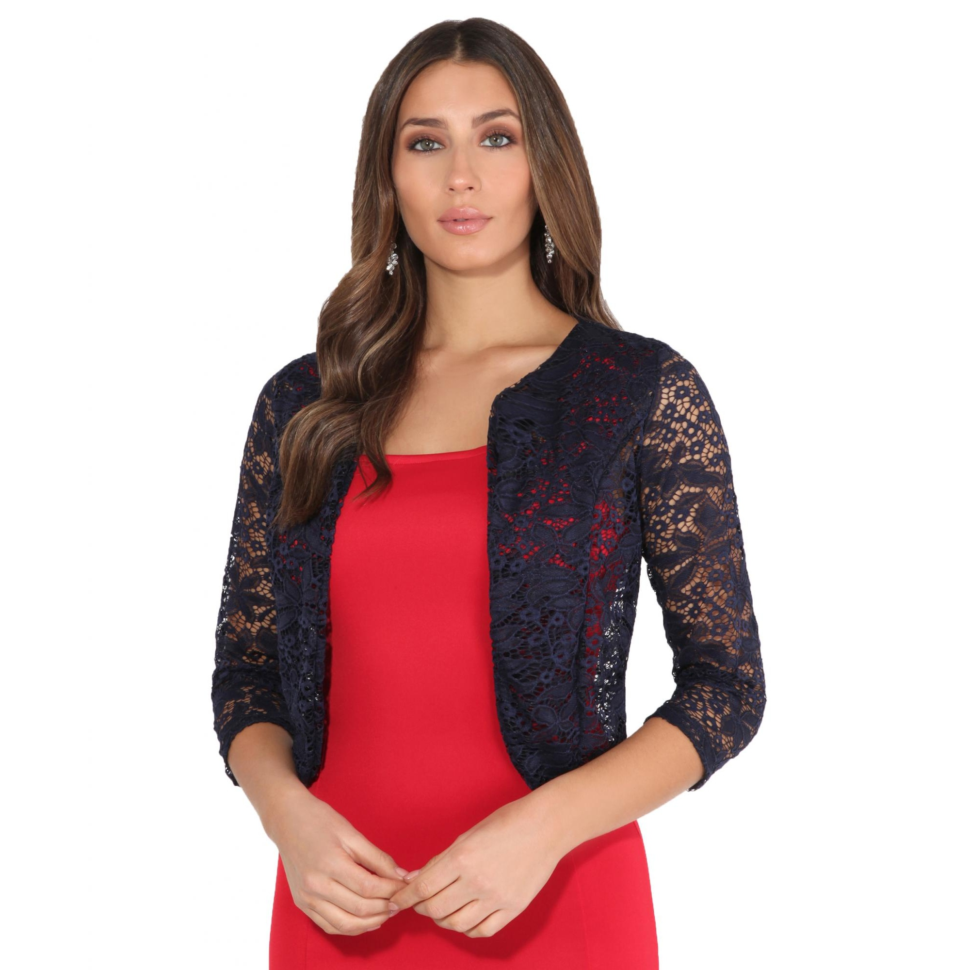 Krisp Womens/Ladies All Over Lace Cropped Evening Shrug (M/L) (Navy)