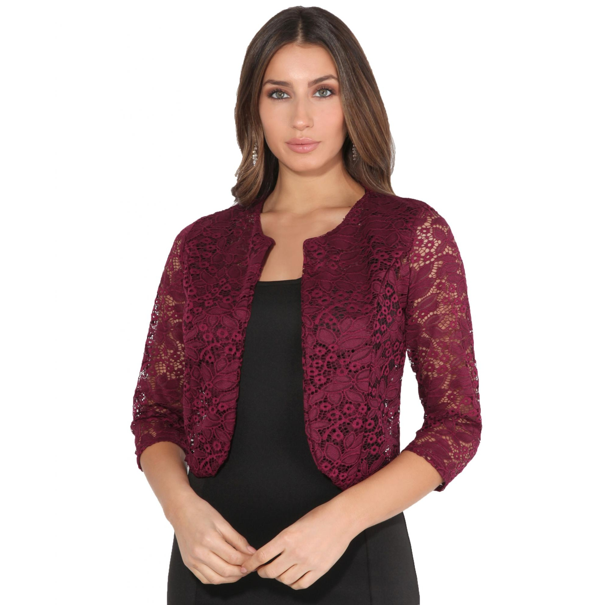 Krisp Womens/Ladies All Over Lace Cropped Evening Shrug (L/XL) (Wine)