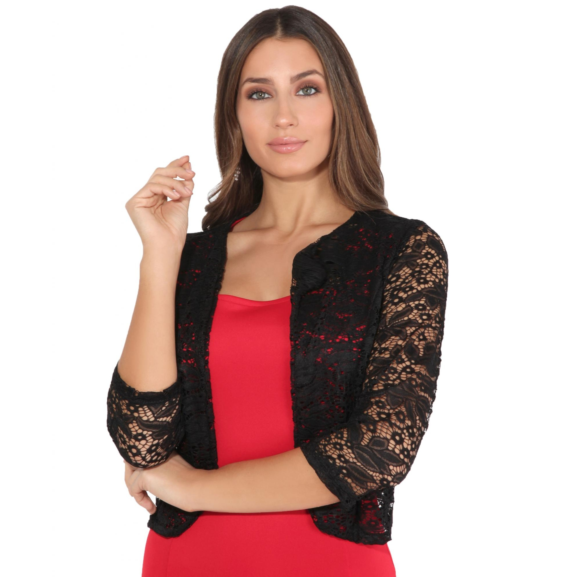 Krisp Womens/Ladies All Over Lace Cropped Evening Shrug (M/L) (Black)