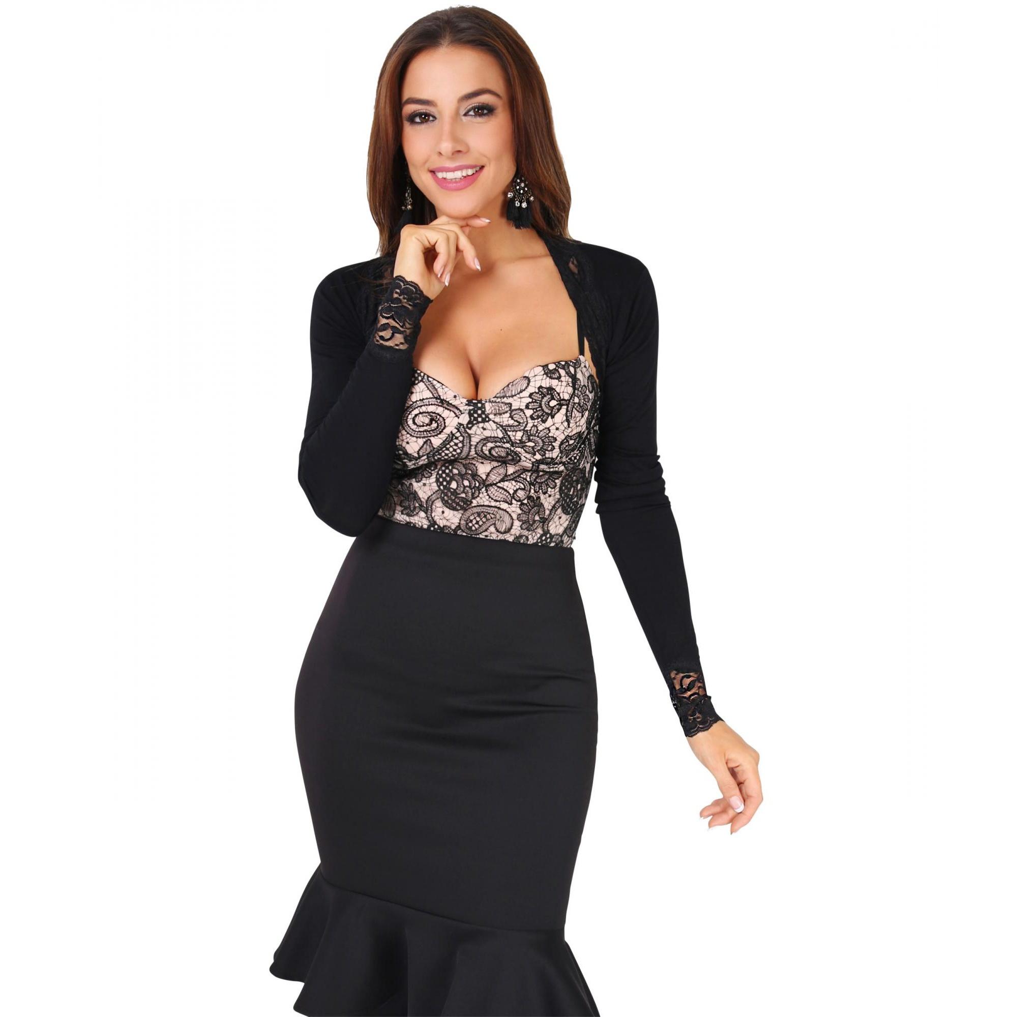 Krisp Womens/Ladies Lace Trim Cropped Cardigan (L/XL) (Black)