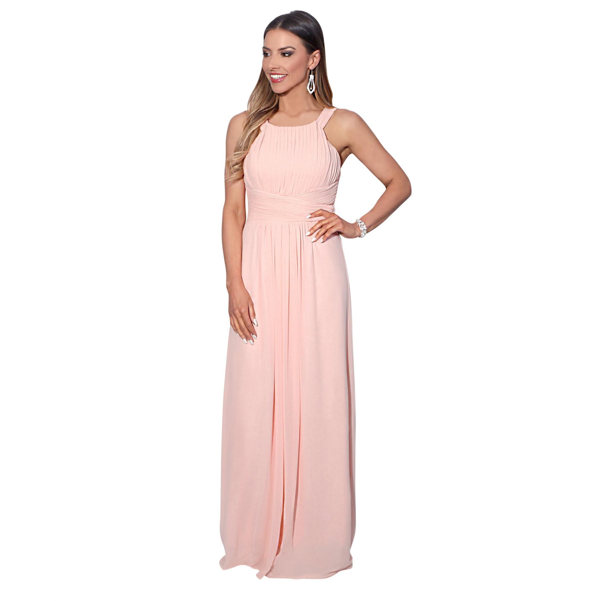 Krisp Womens/Ladies Pleated Front Chiffon Maxi Dress (20 UK) (Pink)