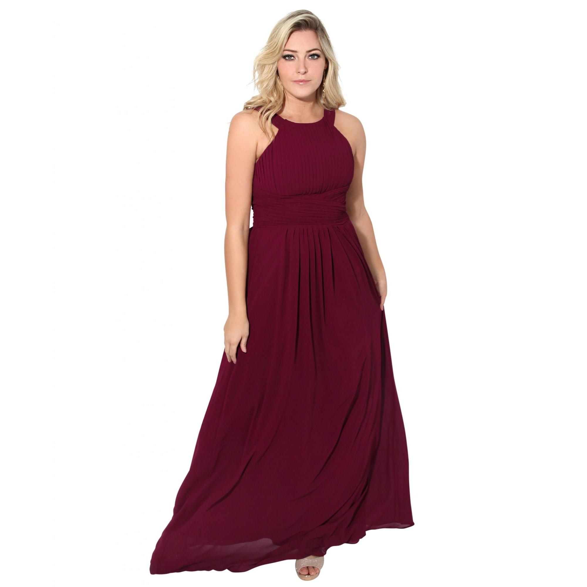 Krisp Womens/Ladies Pleated Front Chiffon Maxi Dress (18 UK) (Red)
