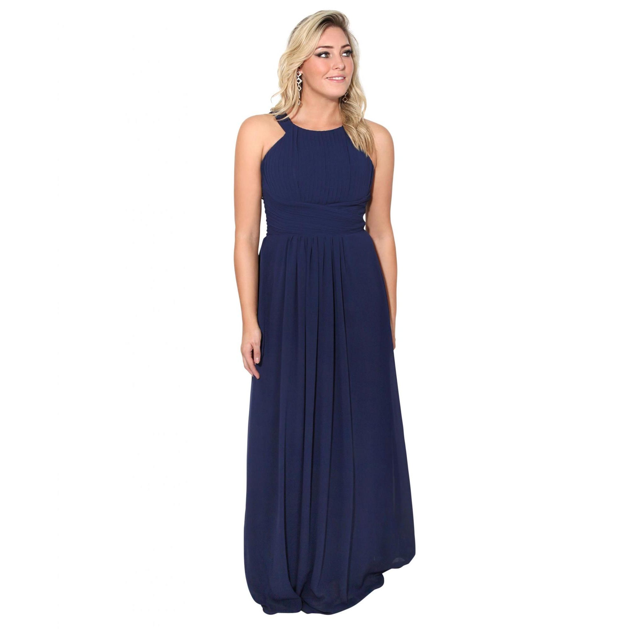 Krisp Womens/Ladies Pleated Front Chiffon Maxi Dress (16 UK) (Blue)