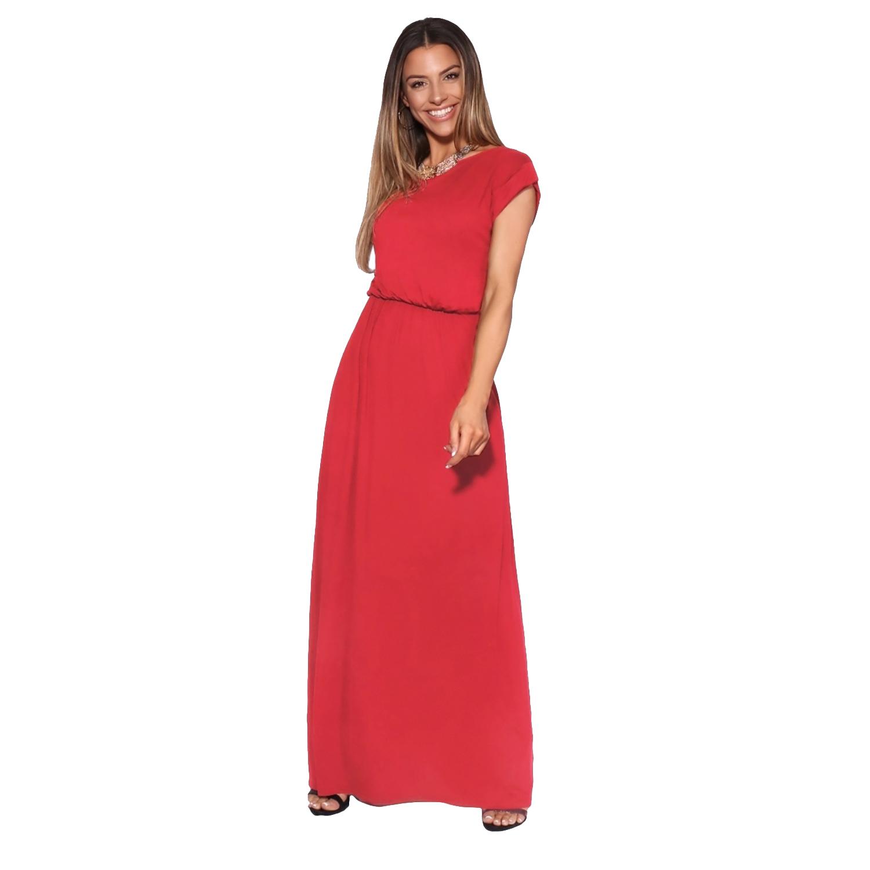 Krisp Womens/Ladies Turn Up Sleeve Jersey Maxi Dress (12 UK) (Red)