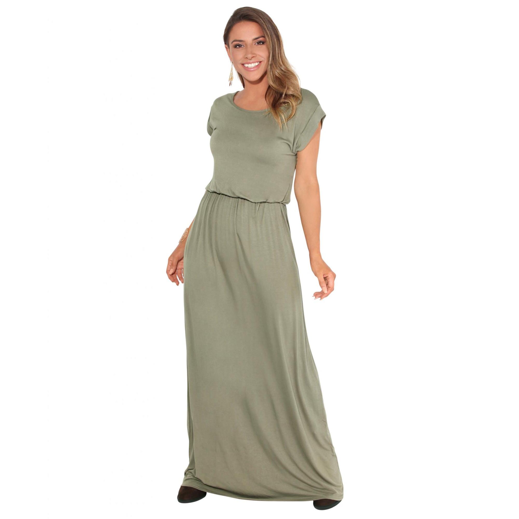 Krisp Womens/Ladies Turn Up Sleeve Jersey Maxi Dress (20 UK) (Khaki)