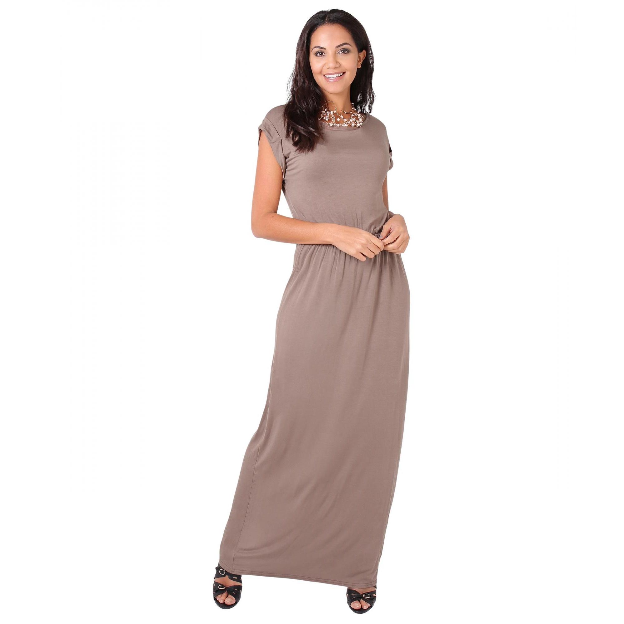 Krisp Womens/Ladies Turn Up Sleeve Jersey Maxi Dress (20 UK) (Mocha)
