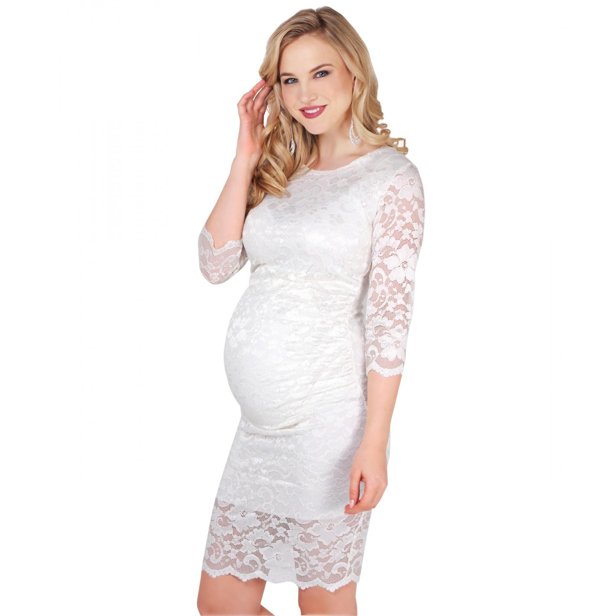 Krisp Womens/Ladies Maternity 3/4 Length Sleeve Lace Midi Dress (S) (Cream)