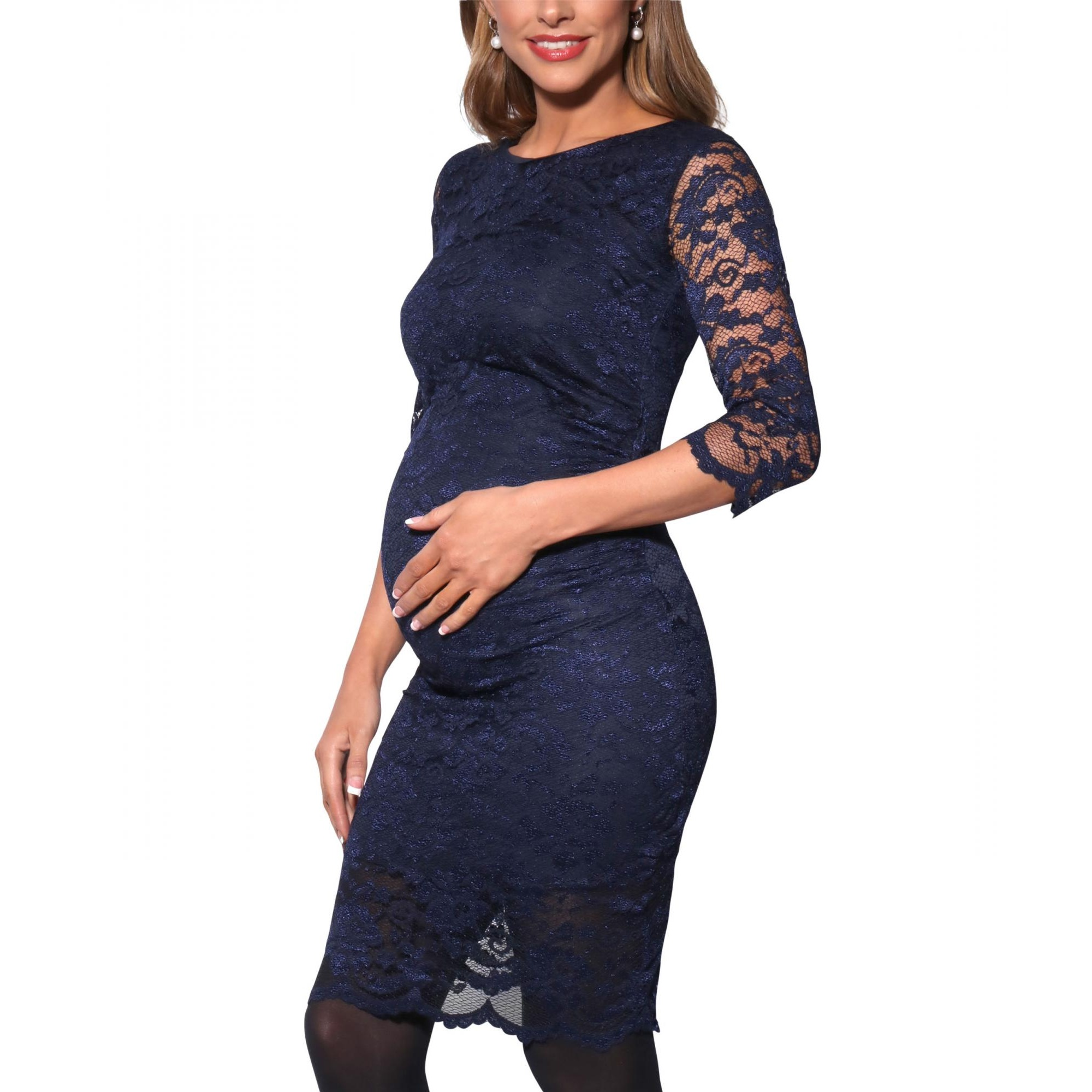 Krisp Womens/Ladies Maternity 3/4 Length Sleeve Lace Midi Dress (M) (Navy)
