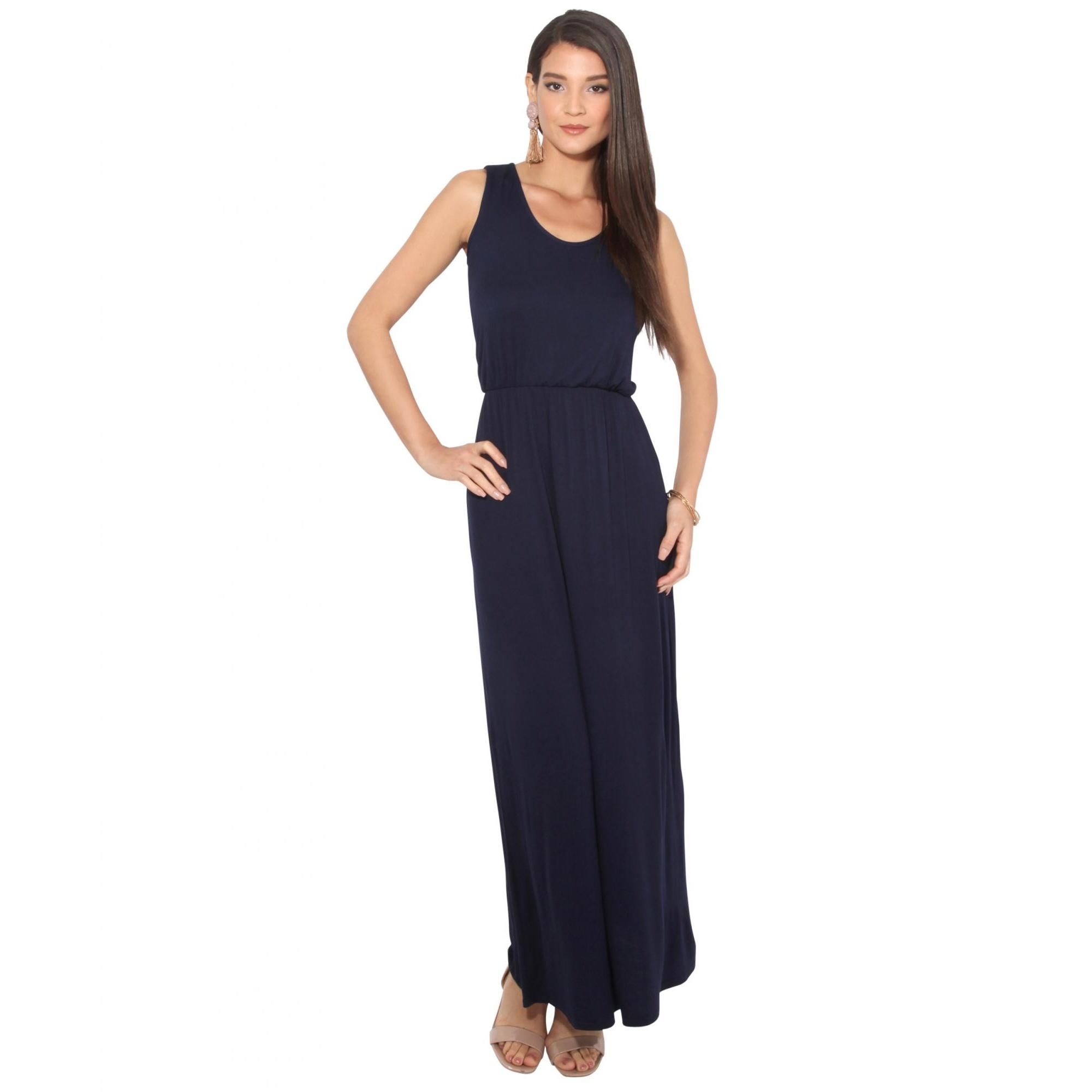 Krisp Womens/Ladies Shirred Sleeveless Maxi Dress (20 UK) (Navy)