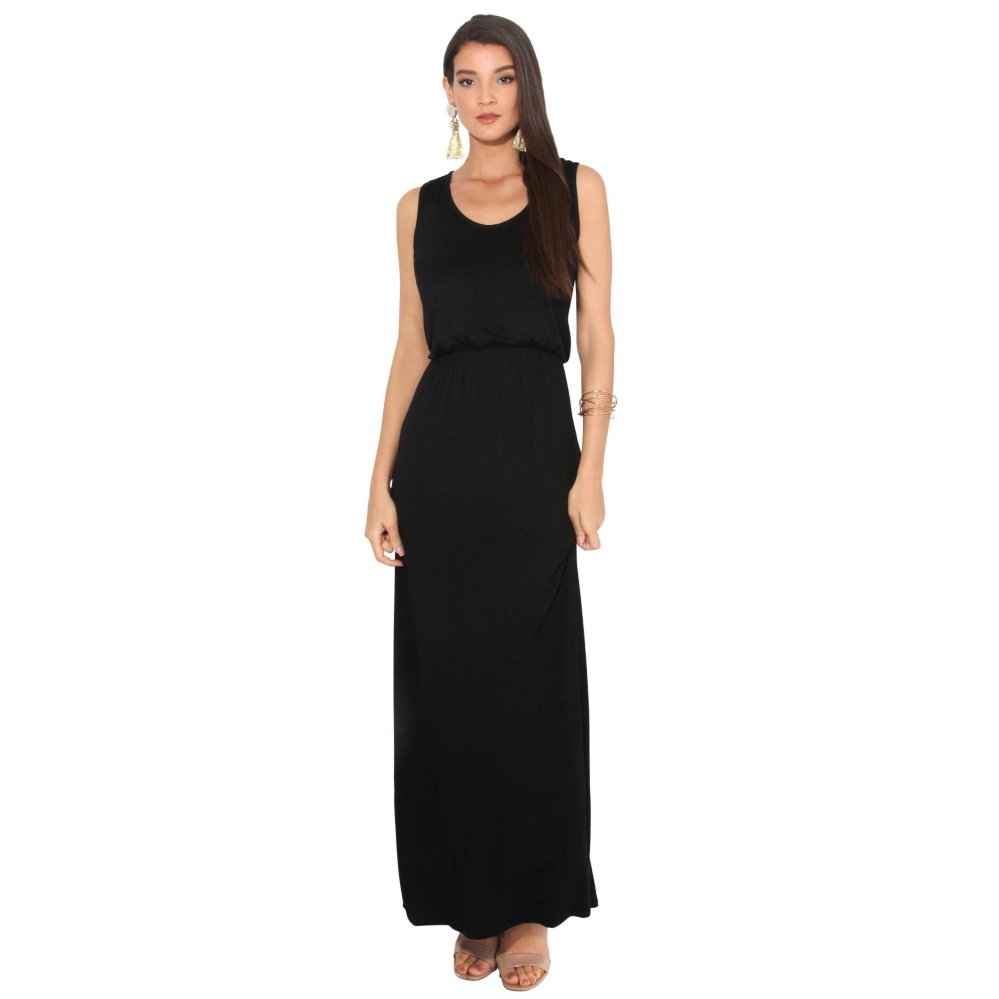 Krisp Womens/Ladies Shirred Sleeveless Maxi Dress (10 UK) (Black)