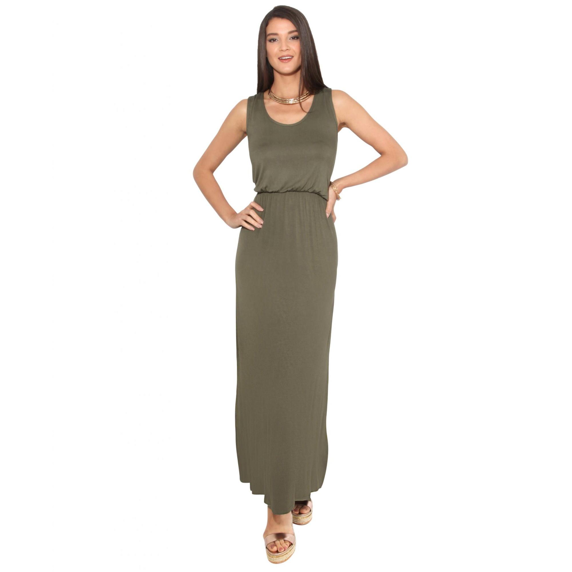 Krisp Womens/Ladies Shirred Sleeveless Maxi Dress (20 UK) (Khaki)