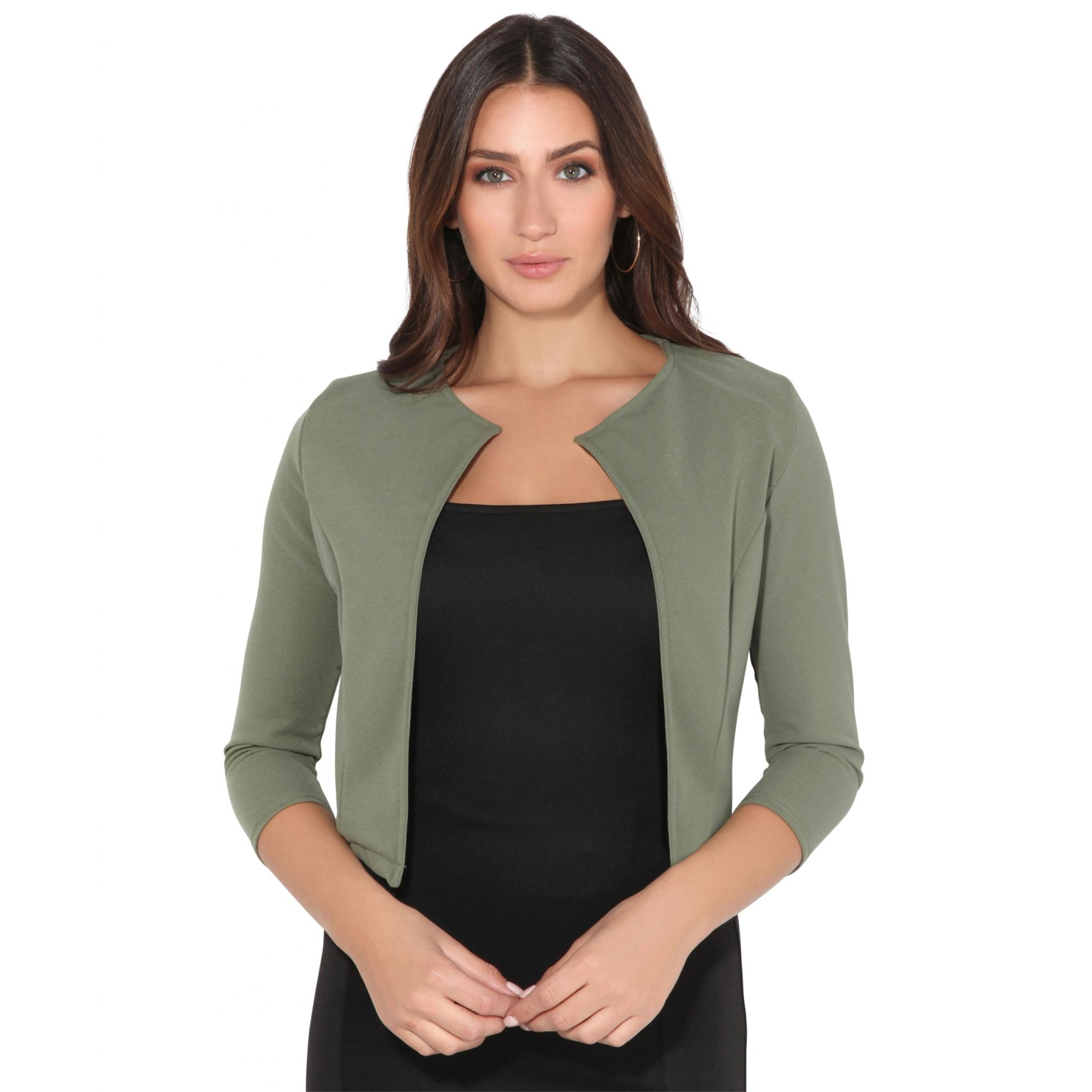 Krisp Womens/Ladies Cropped Open Party Shrug (20 UK) (Khaki)