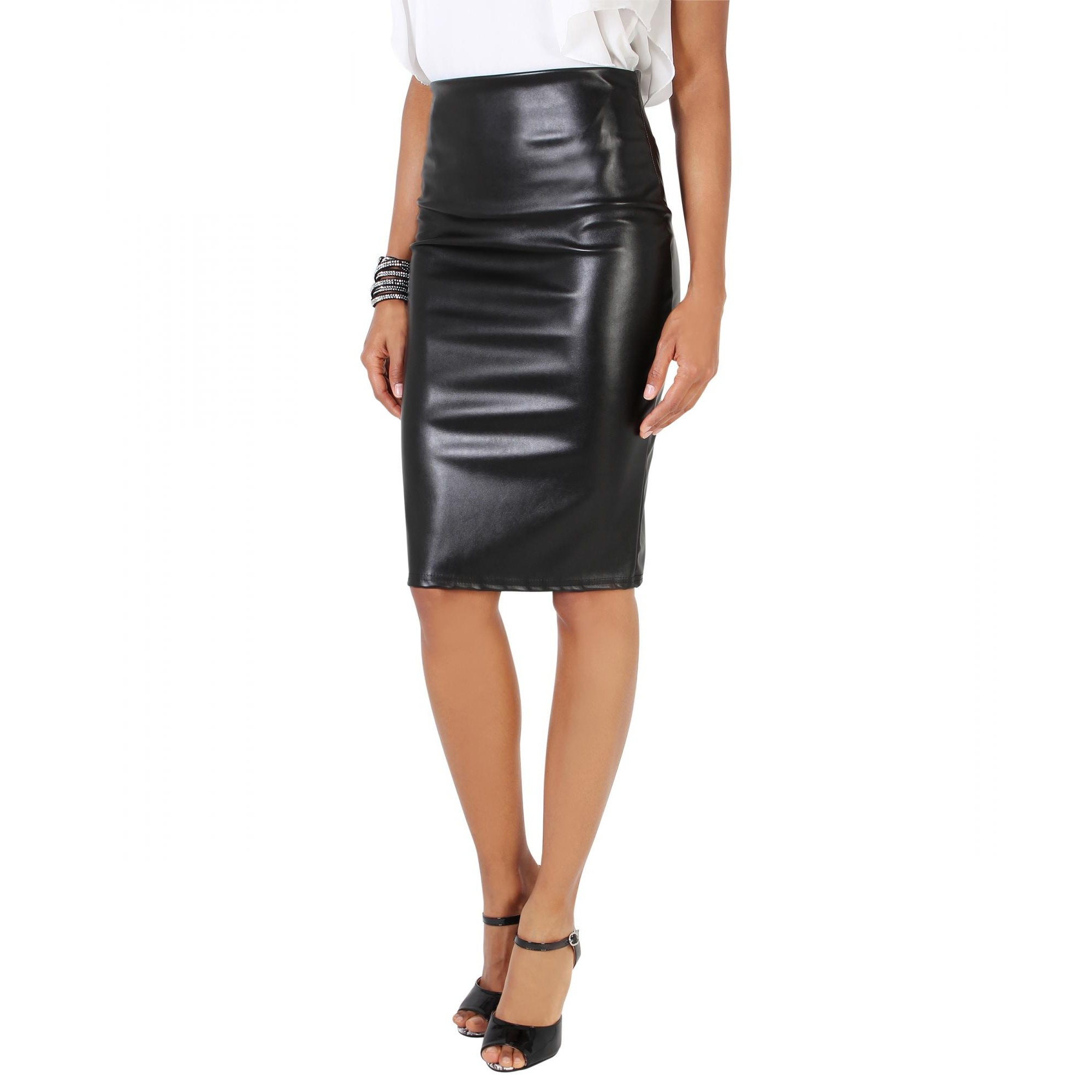 Krisp Womens/Ladies High Waist PU Pencil Skirt (12 UK) (Black)
