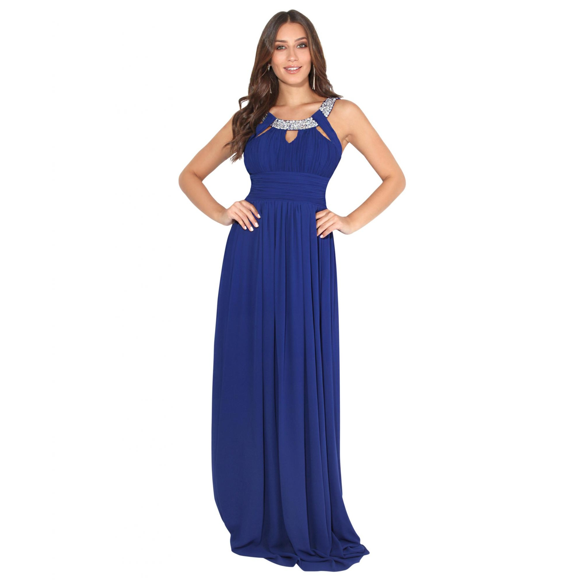 Krisp Womens/Ladies Diamante Neck Chiffon Maxi Dress (14 UK) (Royal Blue)