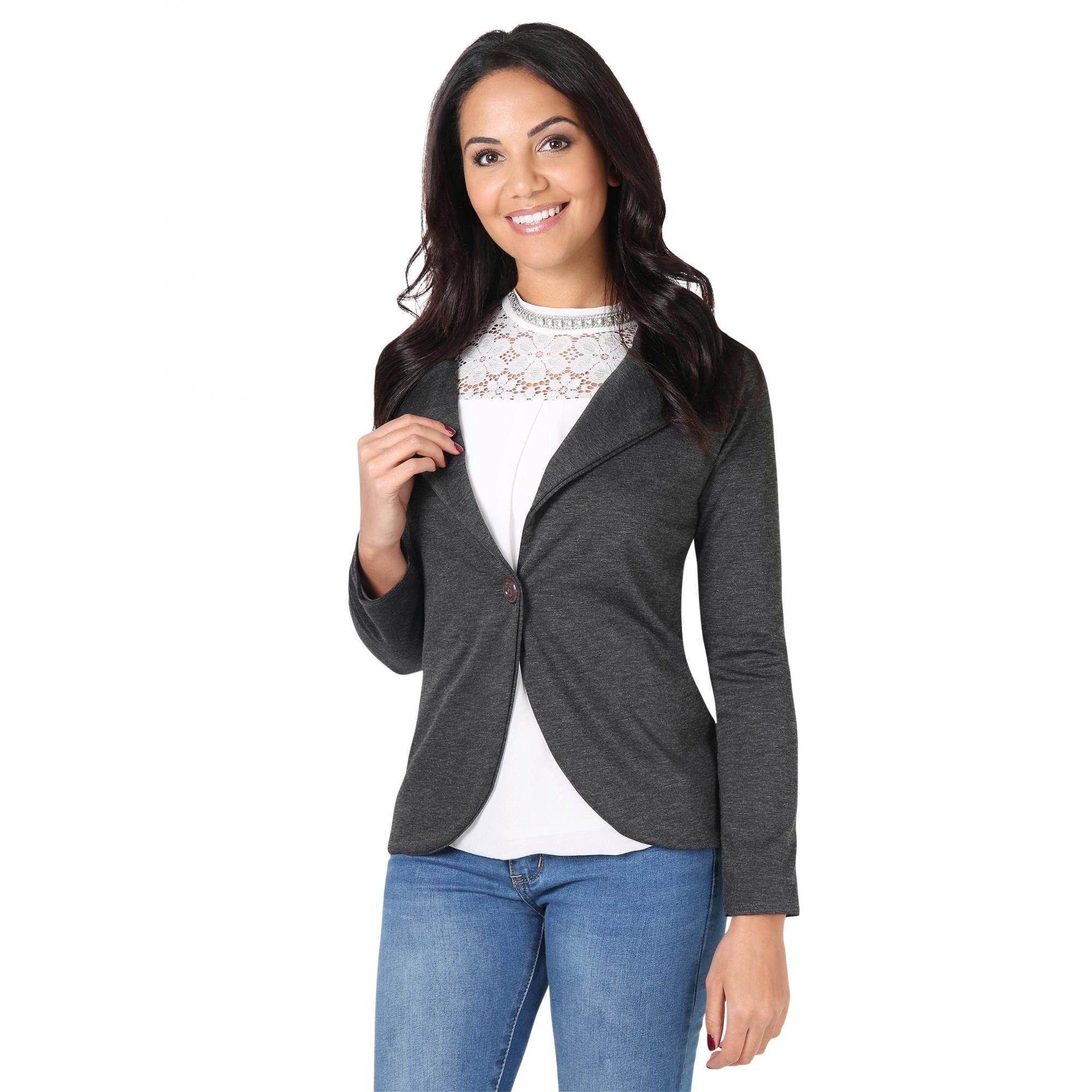 Krisp Basics Womens/Ladies Tailored One Button Blazer (14 UK) (Charcoal)