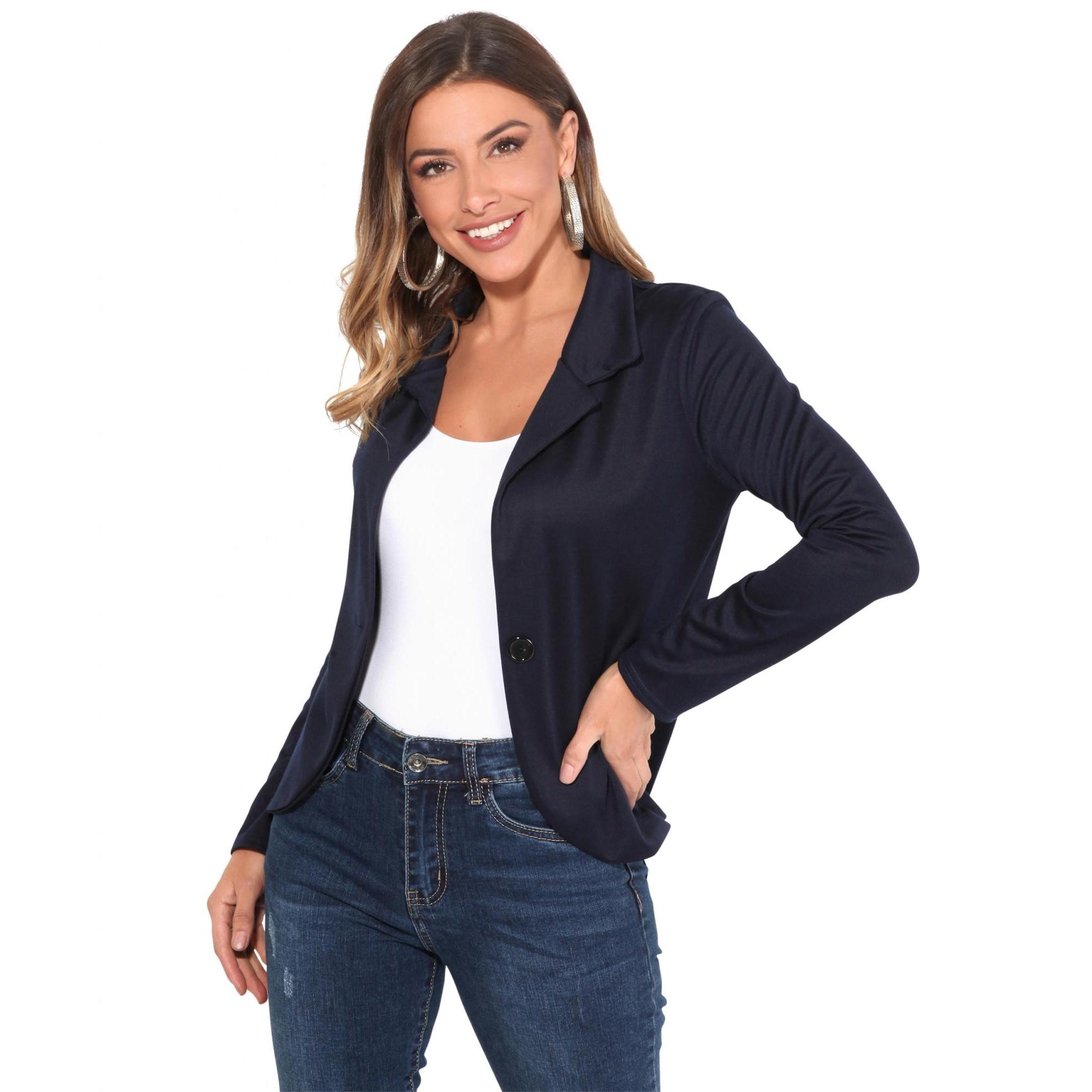 Krisp Basics Womens/Ladies Tailored One Button Blazer (10 UK) (Navy)