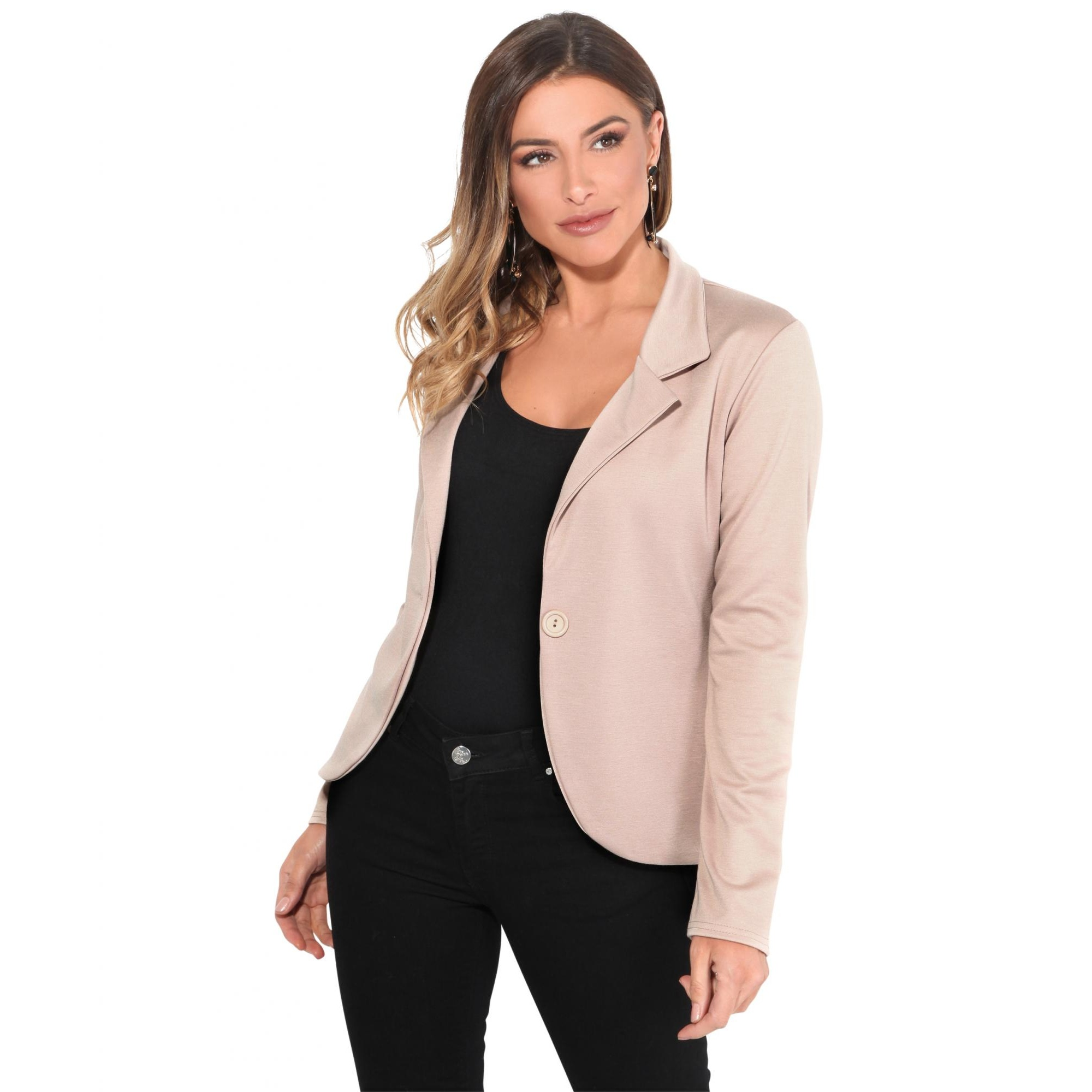 Krisp Basics Womens/Ladies Tailored One Button Blazer (12 UK) (Stone)