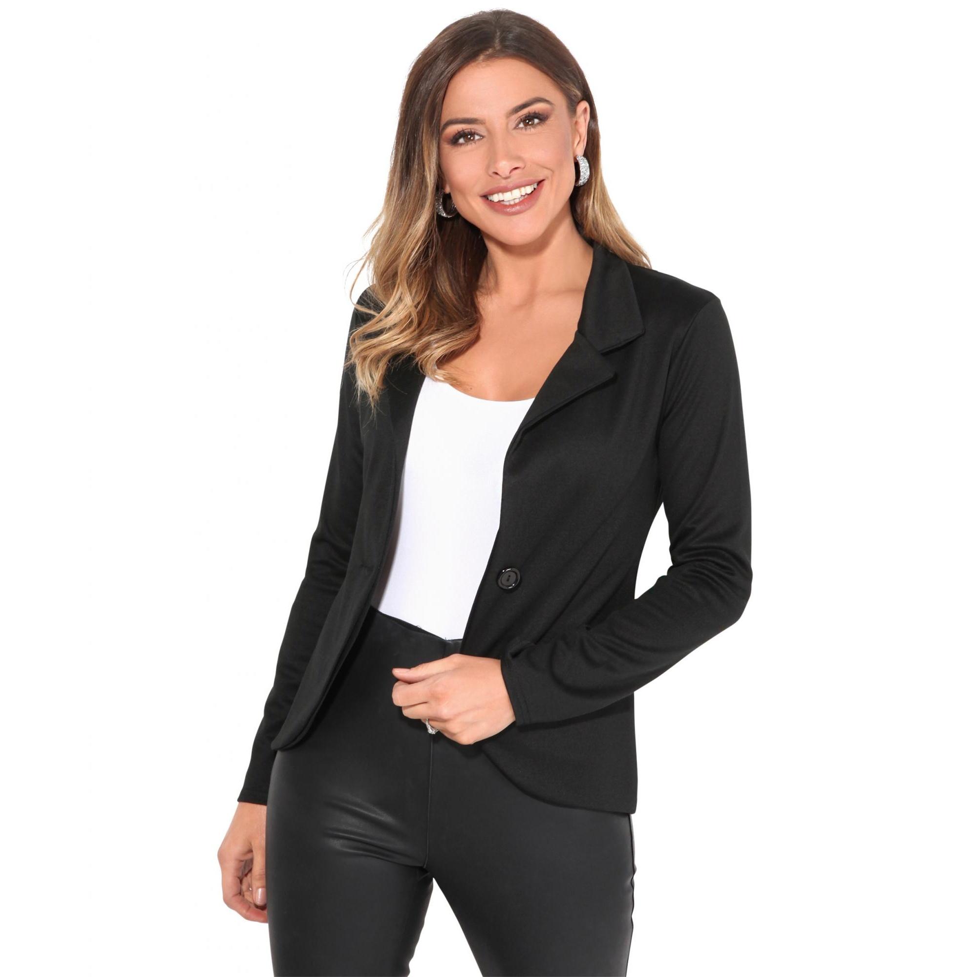 Krisp Basics Womens/Ladies Tailored One Button Blazer (16 UK) (Black)