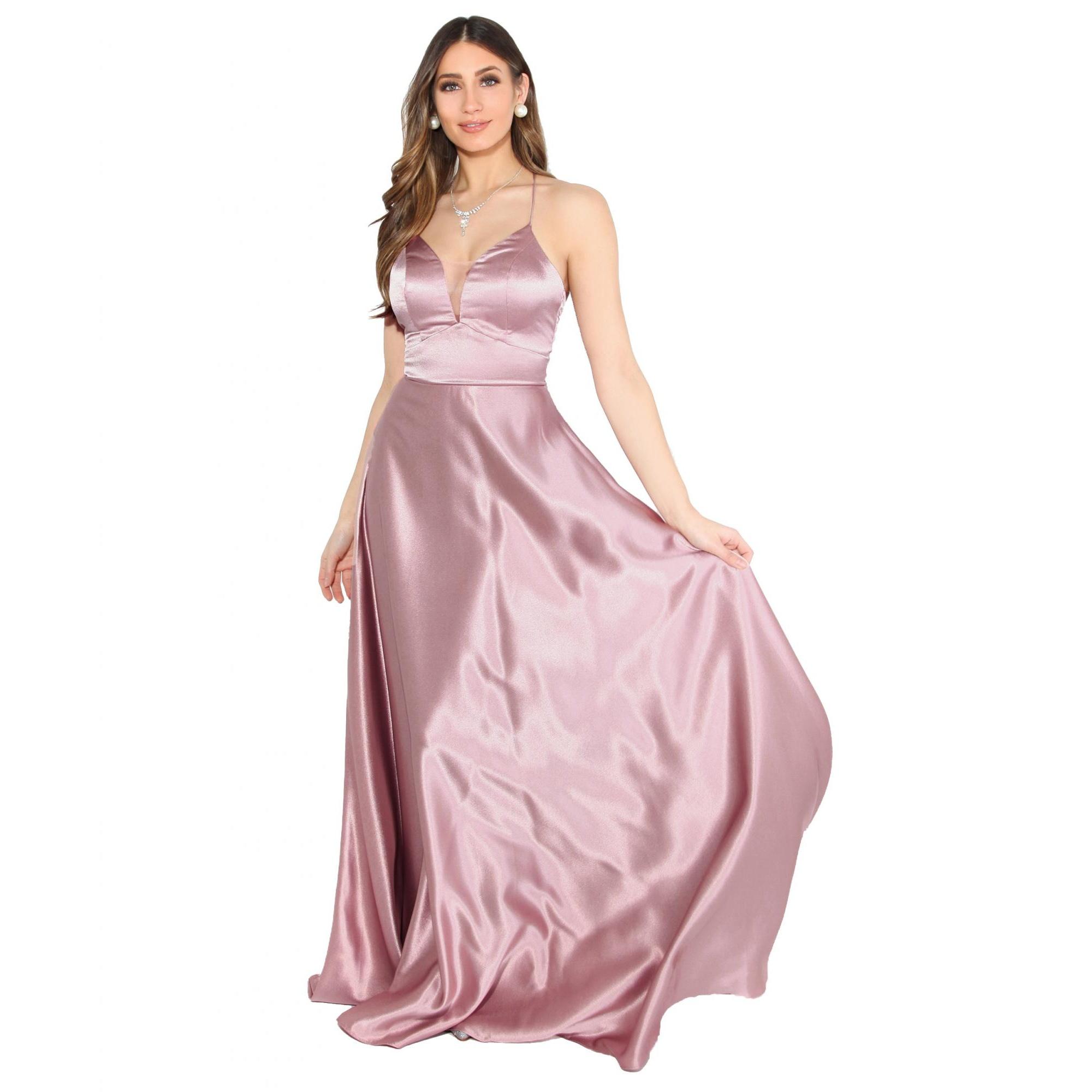 Krisp Womens/Ladies Satin Evening Maxi Dress (16 UK) (Pink)