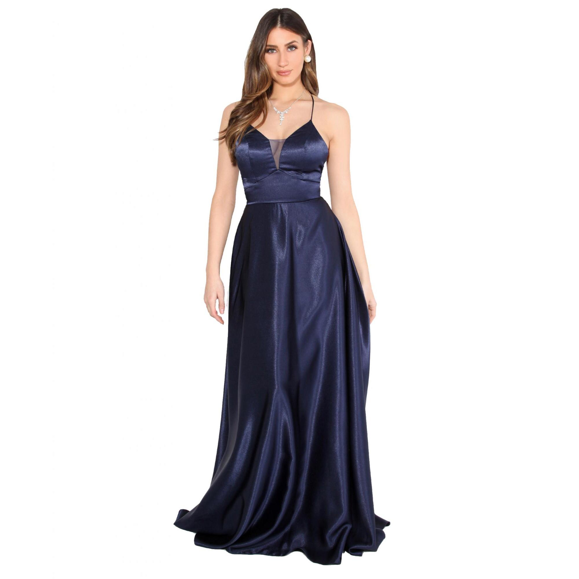 Krisp Womens/Ladies Satin Evening Maxi Dress (18 UK) (Navy)