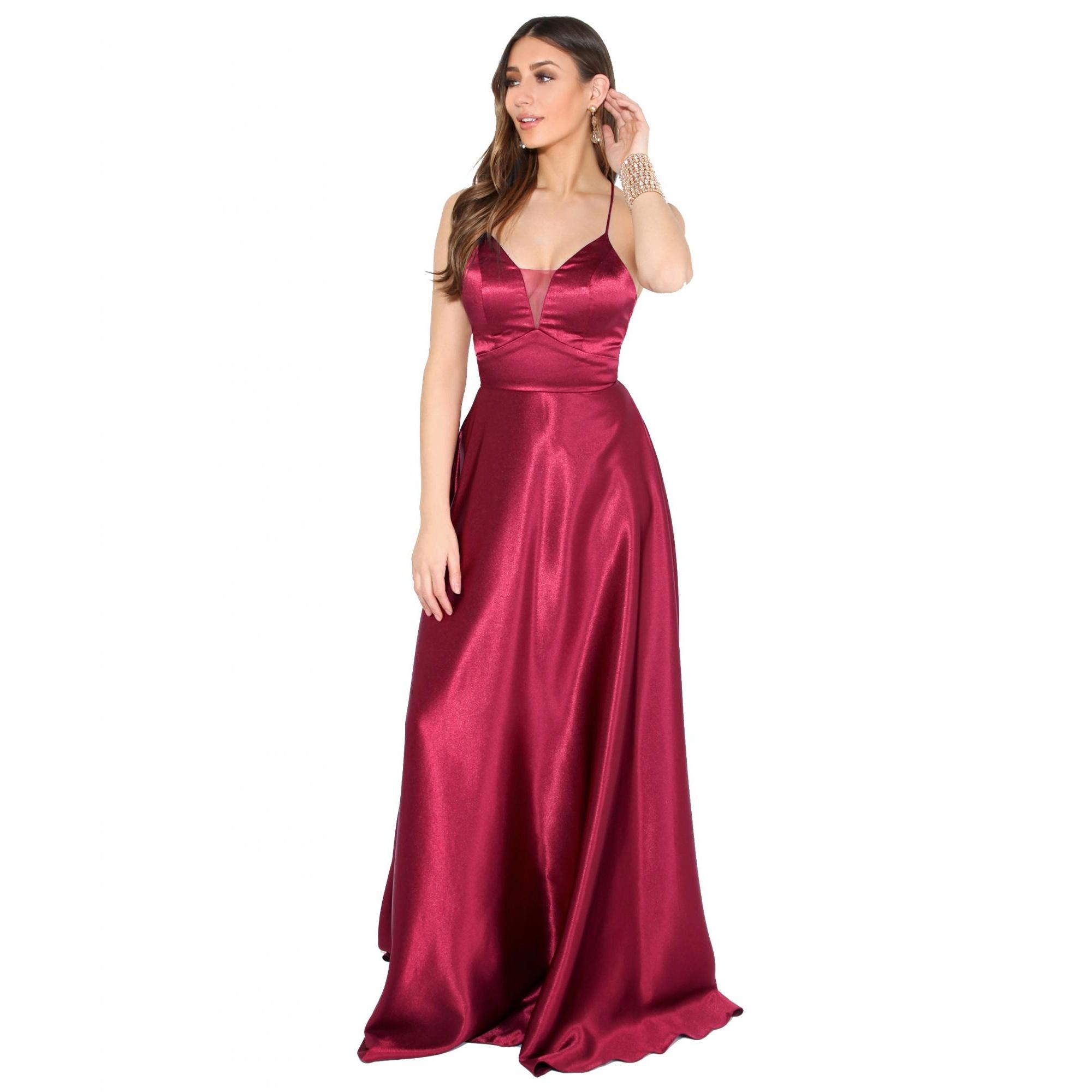 Krisp Womens/Ladies Satin Evening Maxi Dress (18 UK) (Wine)