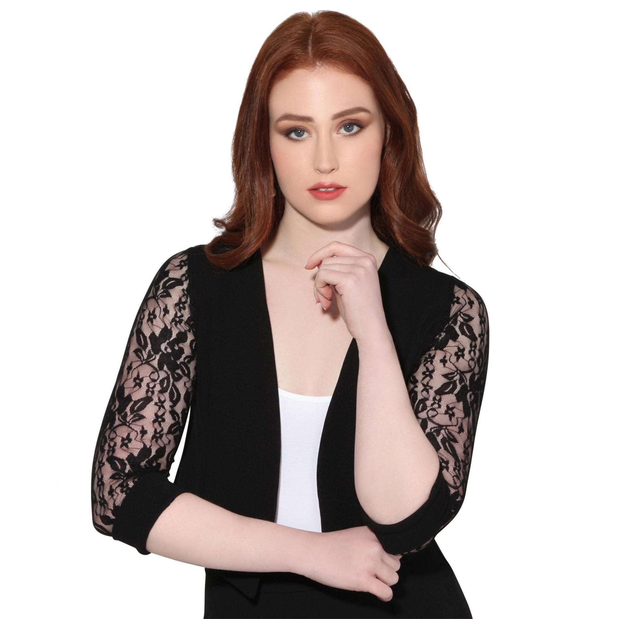 Krisp Womens/Ladies Lace Tailored 3/4 Sleeve Shrug (16 UK) (Black)