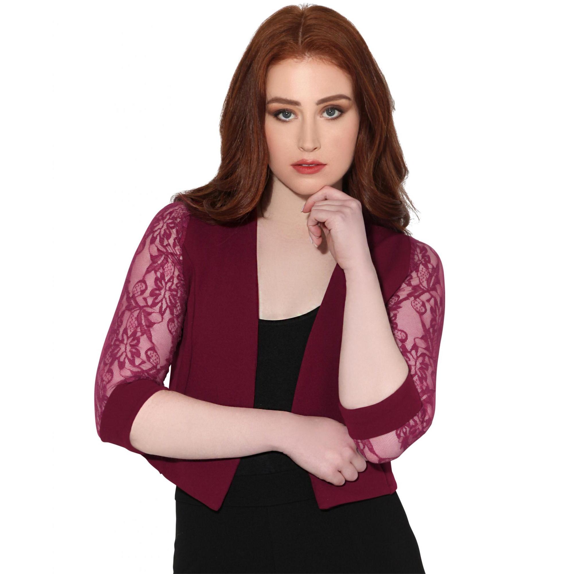 Krisp Womens/Ladies Lace Tailored 3/4 Sleeve Shrug (8 UK) (Wine)