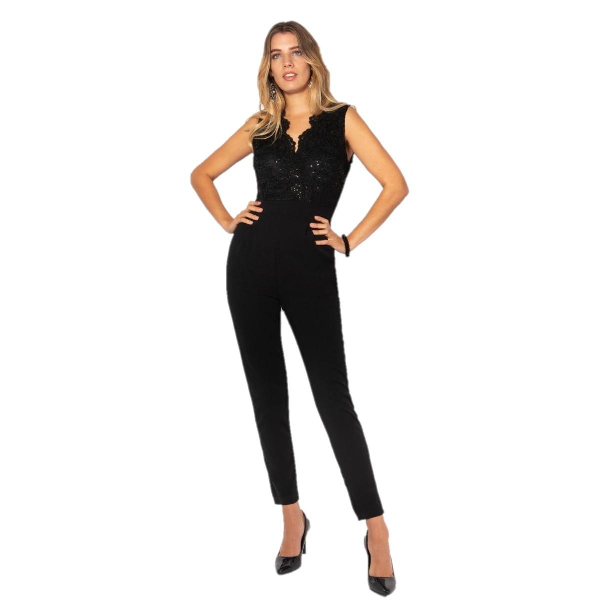 Krisp Womens/Ladies Evening Jumpsuit (L) (Black)