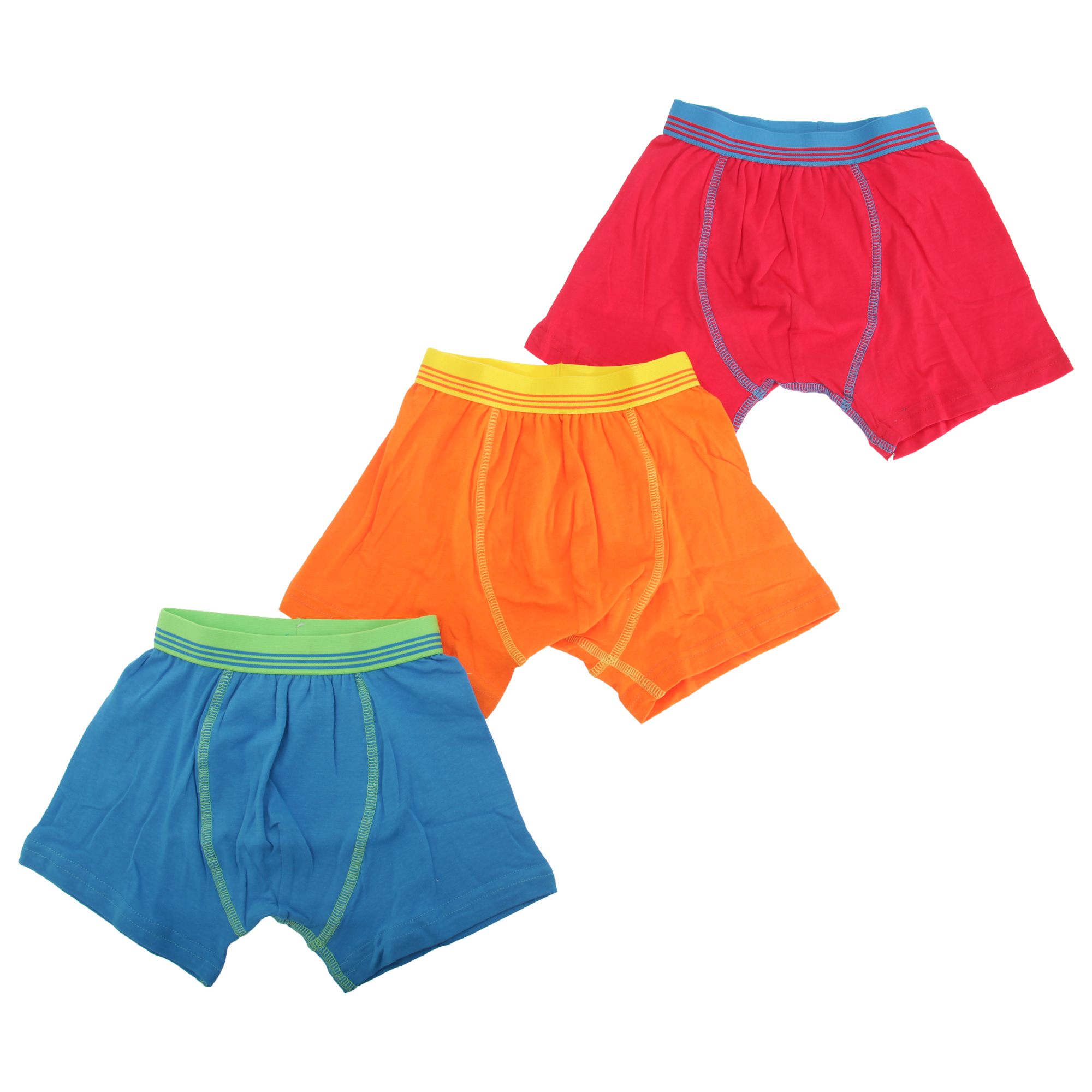 KU191 Pack Childrens Boys Contrast Band Design Trunks//Boxer Shorts Underwear