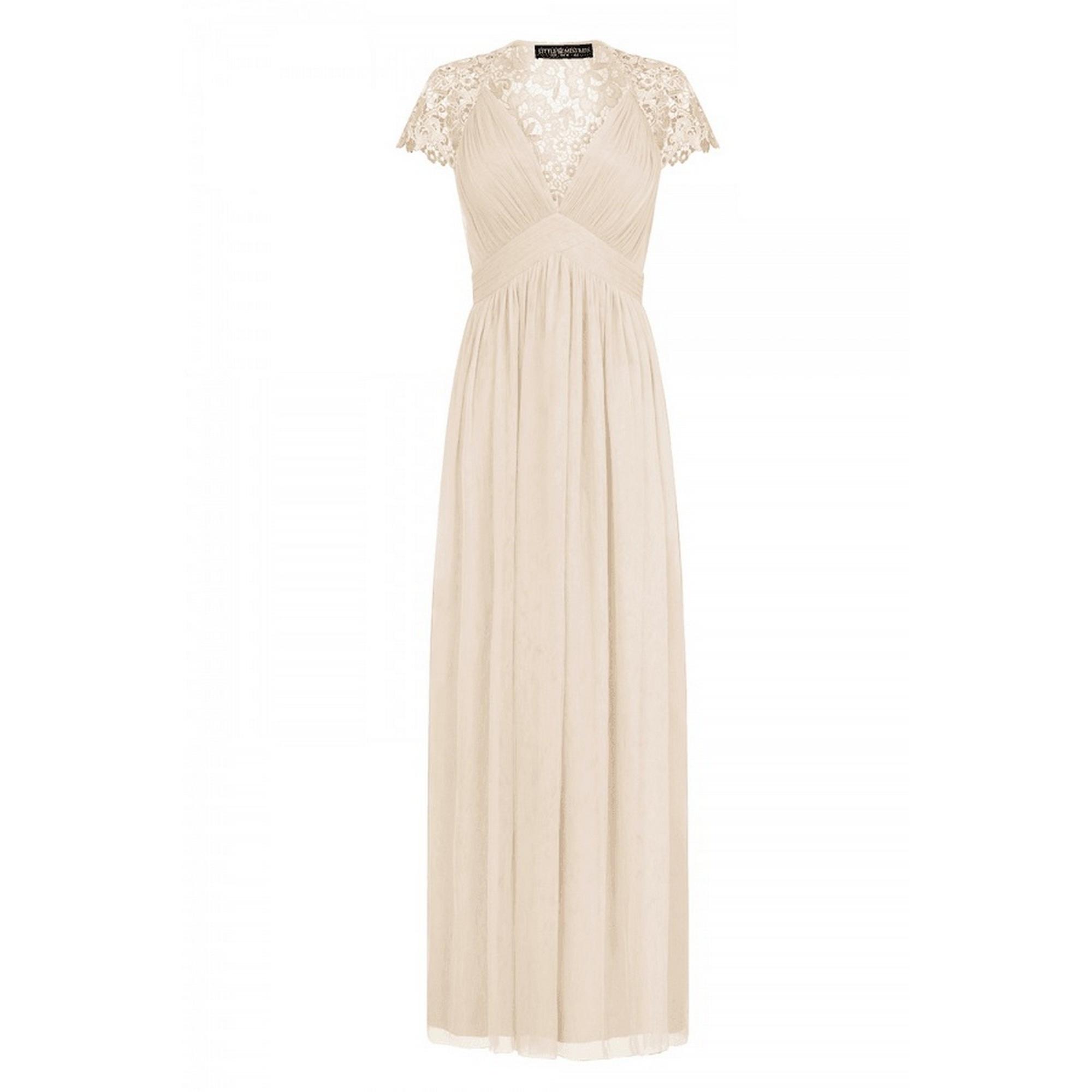 Little Mistress Womens/Ladies Embellished Cap Sleeve Maxi Dress (12 UK) (Nude)