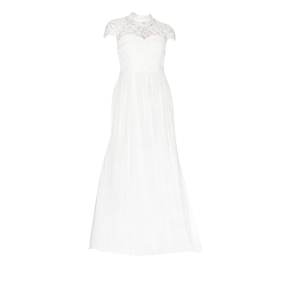 Little Mistress Womens/Ladies Lace High Neck Bridal Dress (8 UK) (Ivory)