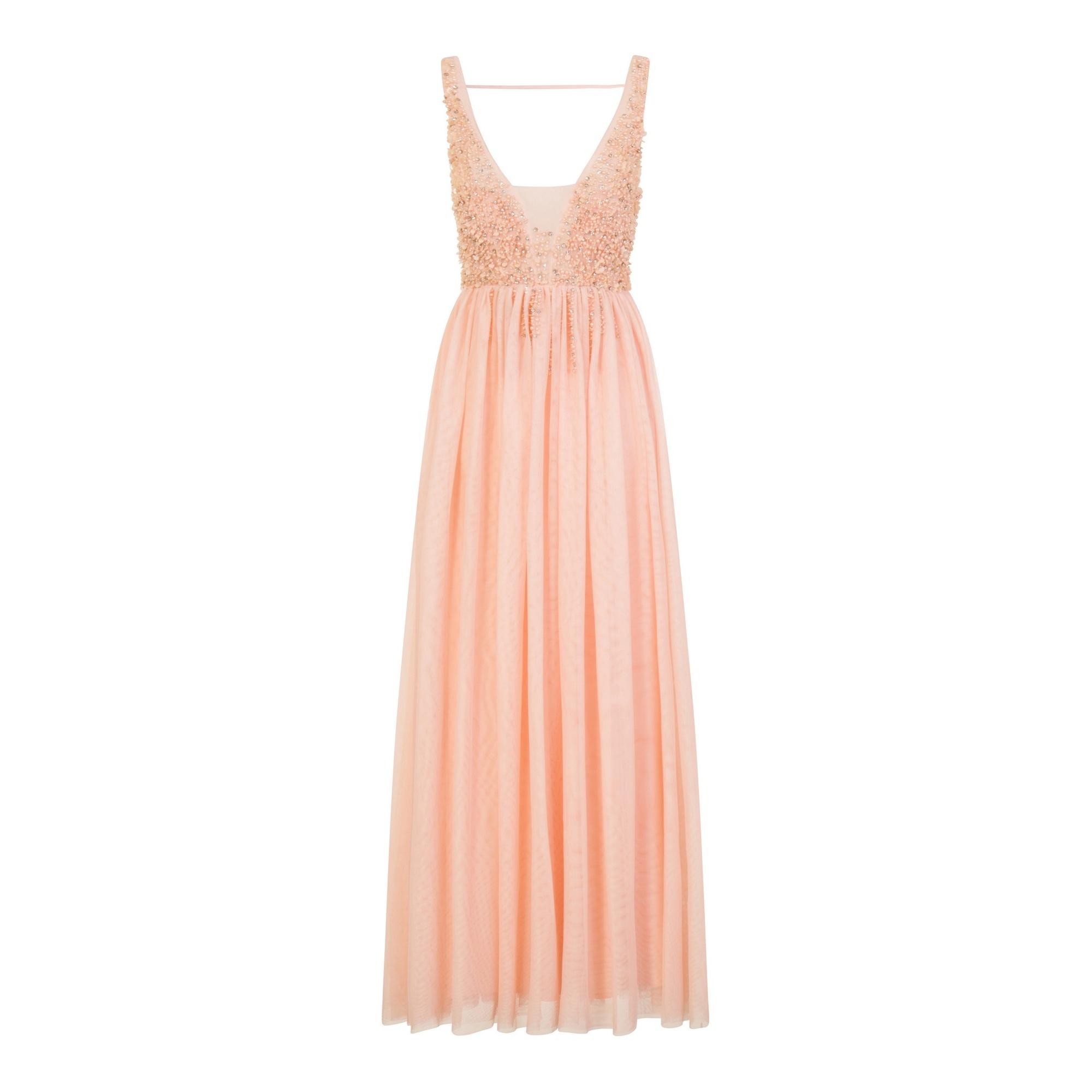 Little Mistress Womens/Ladies Tulle Open Back Maxi Dress (12 UK) (Pink)