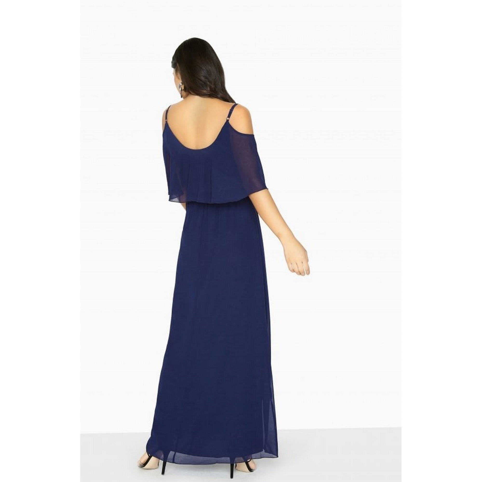 Girls On Film Womens/Ladies Motion Cold Shoulder Maxi Dress (6 UK) (Navy)
