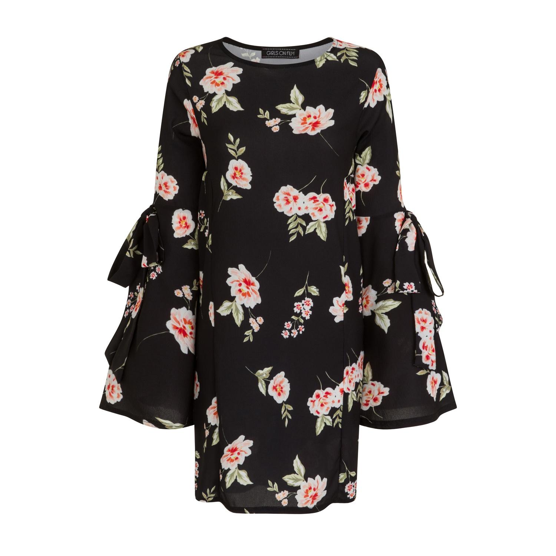 Girls On Film Womens/Ladies Black Floral Print Shift Dress (12) (Print)