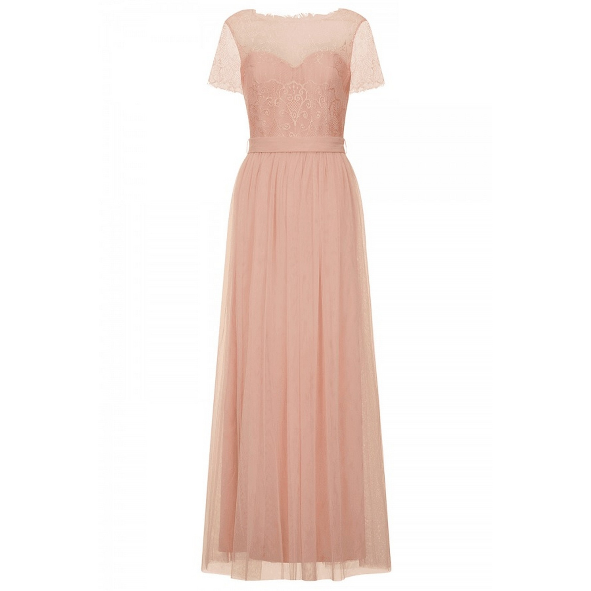 Little Mistress Womens/Ladies Lace Overlay Maxi Dress (10) (Dusty Pink)