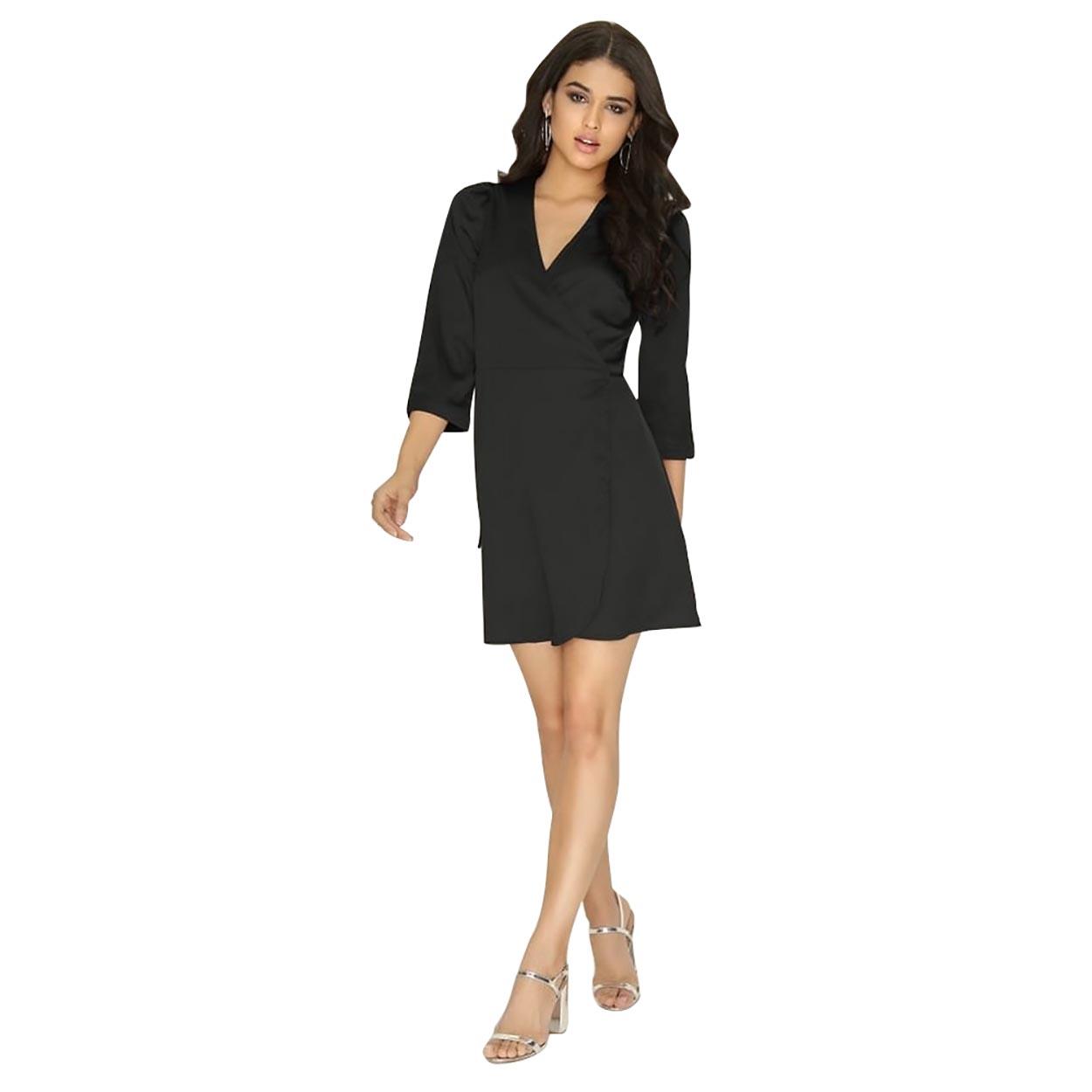 Girls On Film Womens/Ladies Wrap Satin Dress (12) (Black)