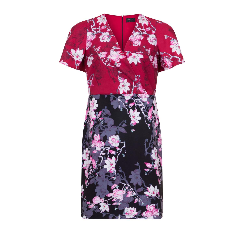 Paper Dolls Curvy Womens/Ladies Blossom Print Bodycon Dress (24) (Red/Blue Print)