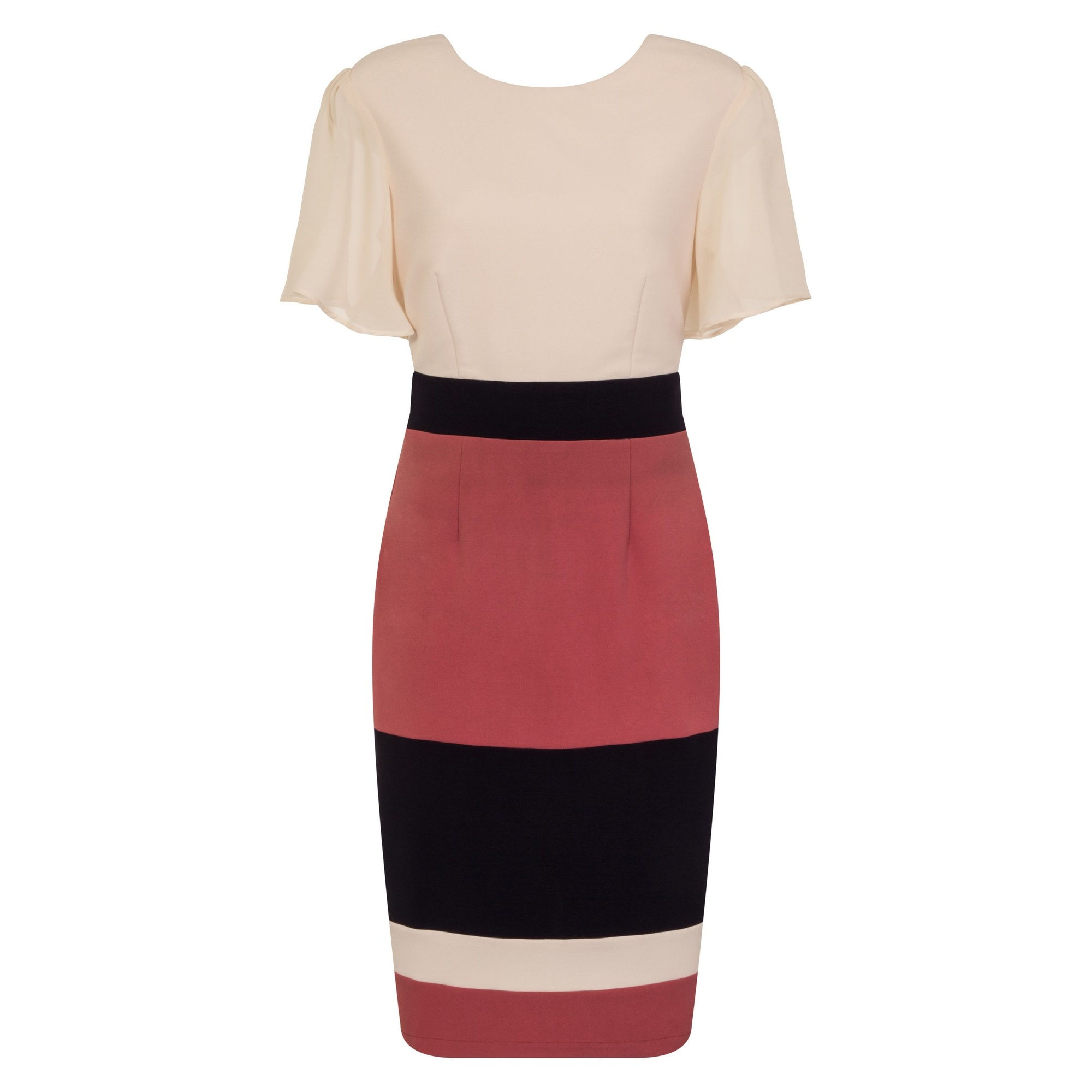 Paper Dolls Womens/Ladies Cannes Stripe Panel Dress (14 UK) (Pink/Navy)