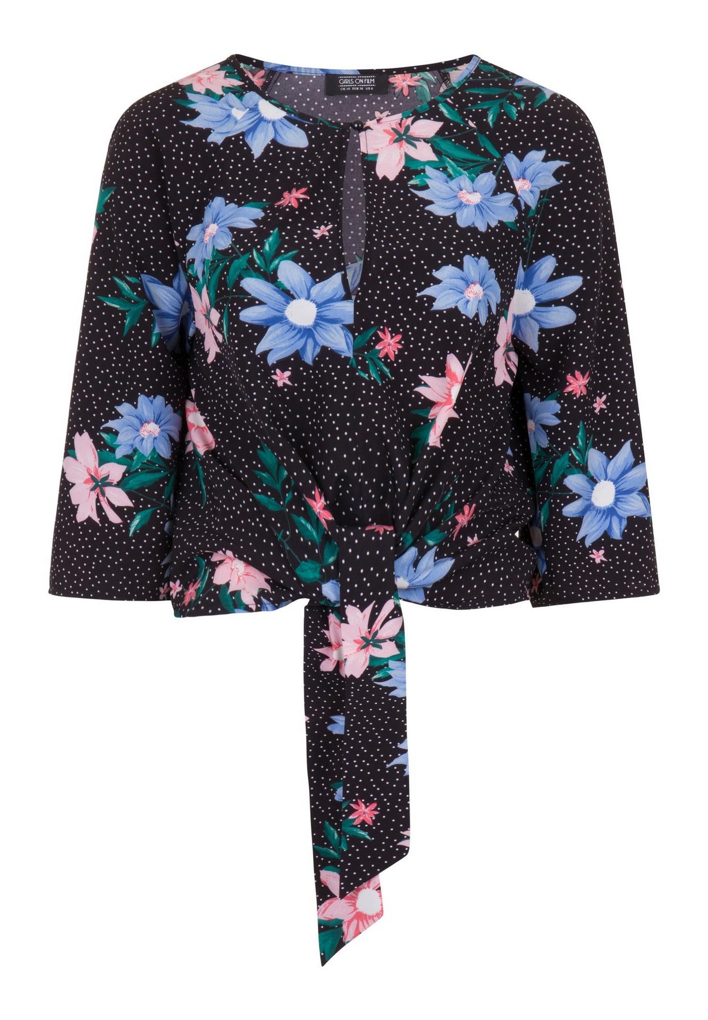 Girls On Film Womens/Ladies Lio Floral Tie Blouse (10 UK) (Black)