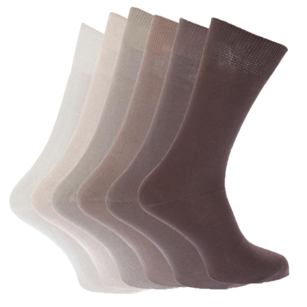 Floso para hombre Plain 100% Cotton Socks (paquete de 6)