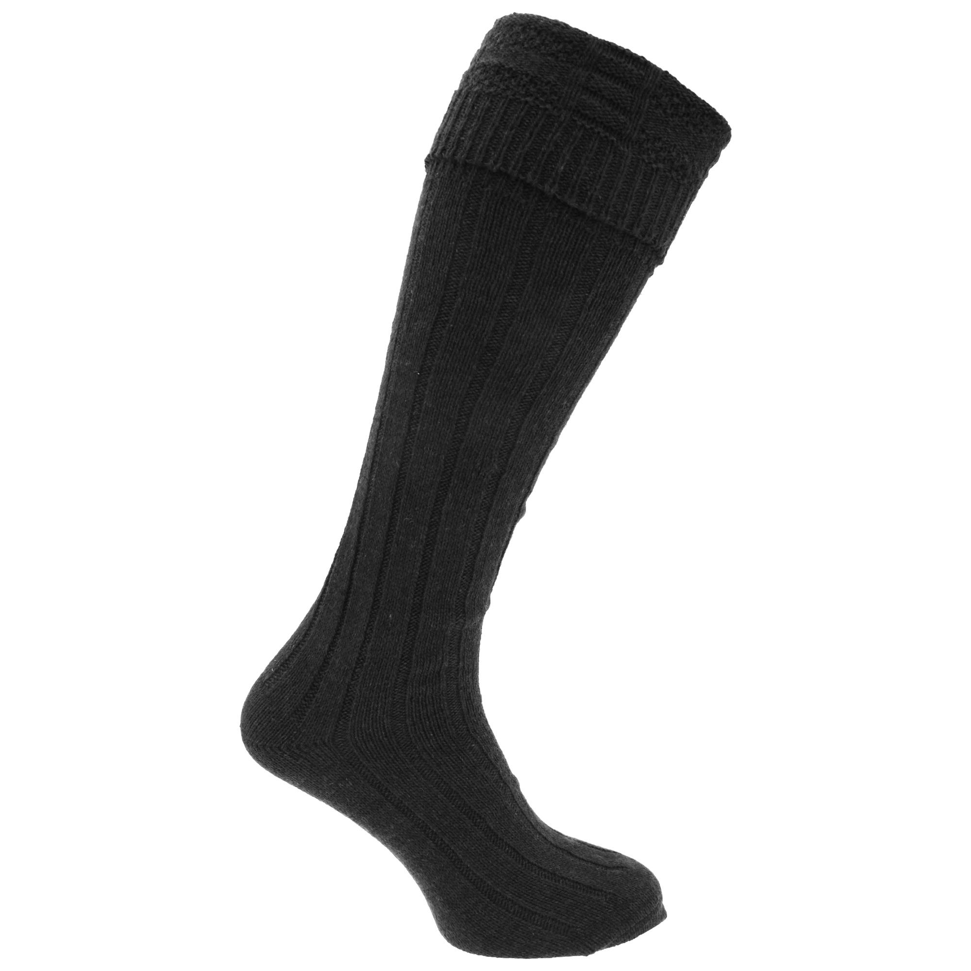 Mens Scottish Highland Wear Wool Kilt Hose Socks (1 Pair) (6-11 UK, 39-45 EU) (Black)