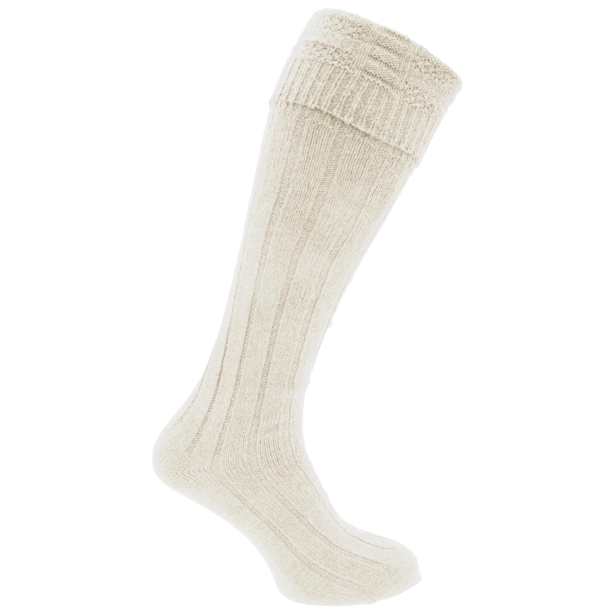Mens Scottish Highland Wear Wool Kilt Hose Socks (1 Pair) (6-11 UK, 39-45 EU) (Cream)
