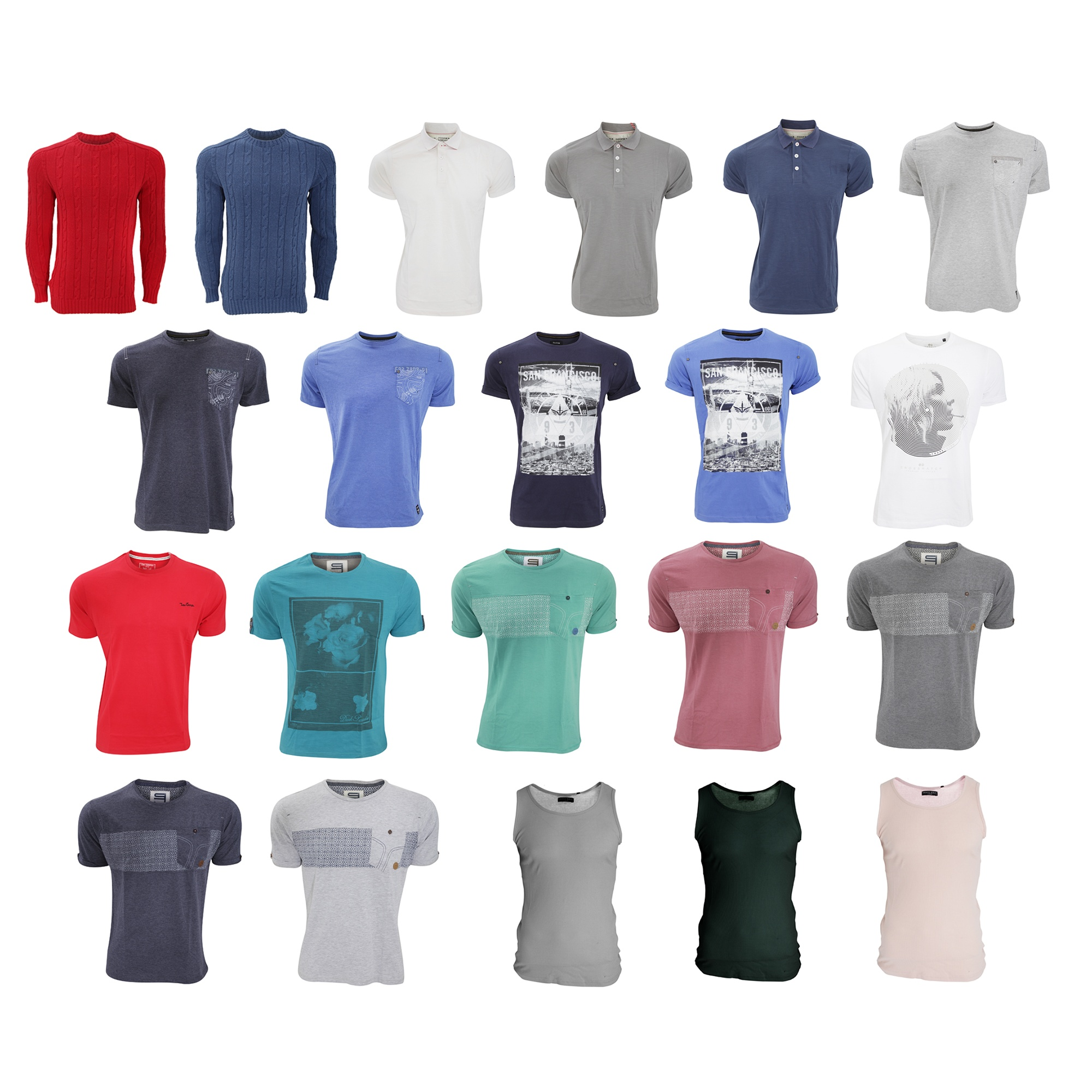 Bulk, Wholesale, Job Lot, Clearance Assorted Clothing (Dresses, Tops, Footwear And More) (Box 1) (Assorted Mens Tops (Set of 73))