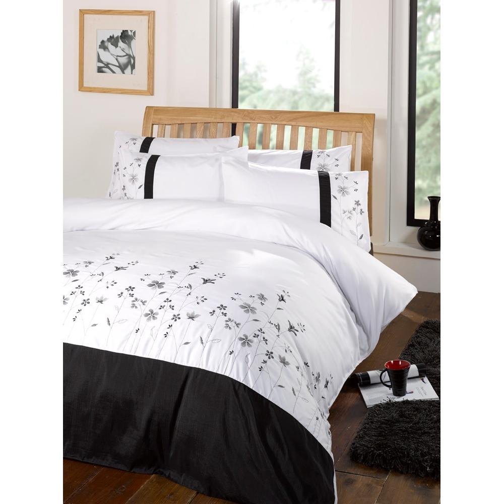 valentina floral patterned embroidered duvet comforter quilt cover bedding set ebay. Black Bedroom Furniture Sets. Home Design Ideas