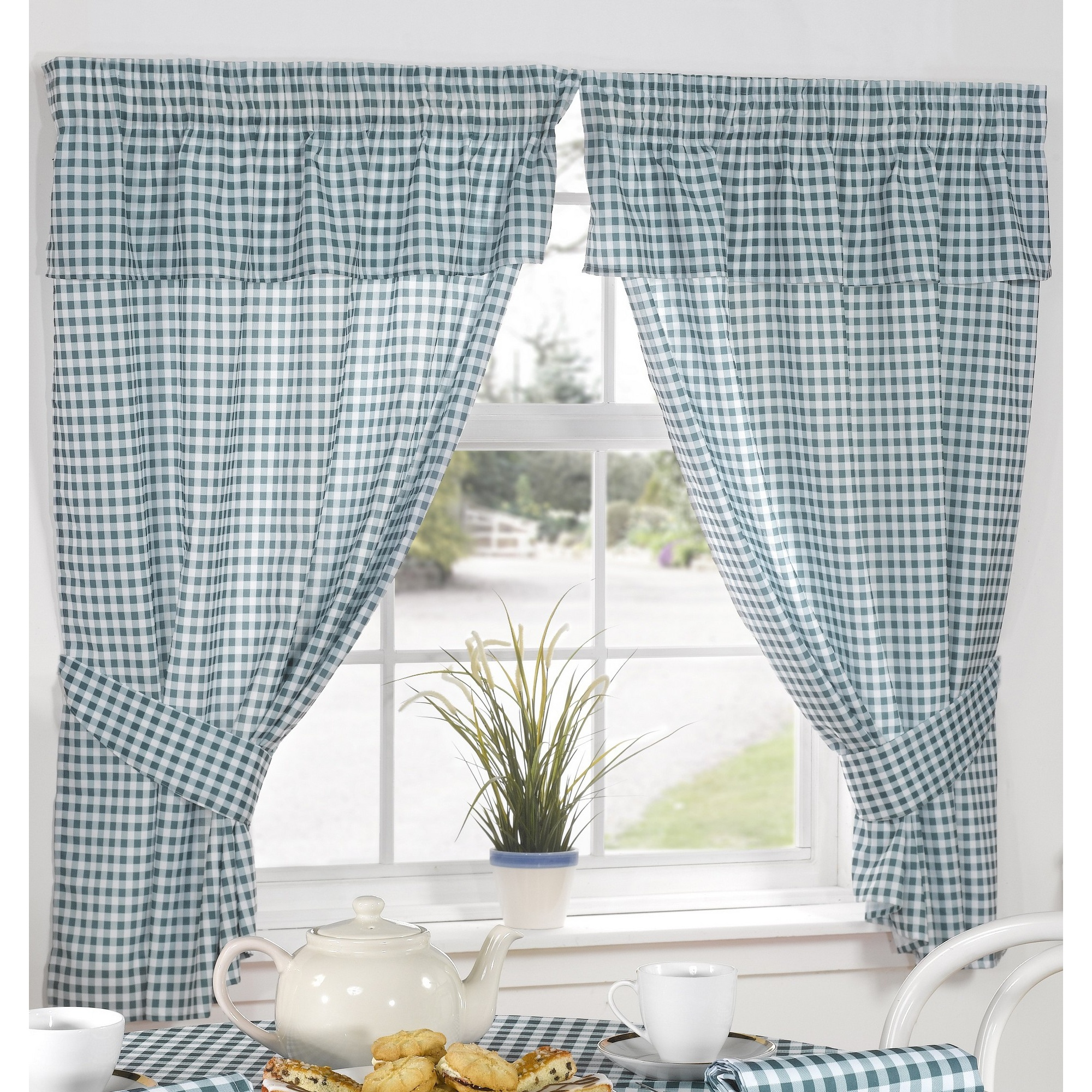 Molly Gingham Check Pattern Ready Made Kitchen Curtains/drapes With ...
