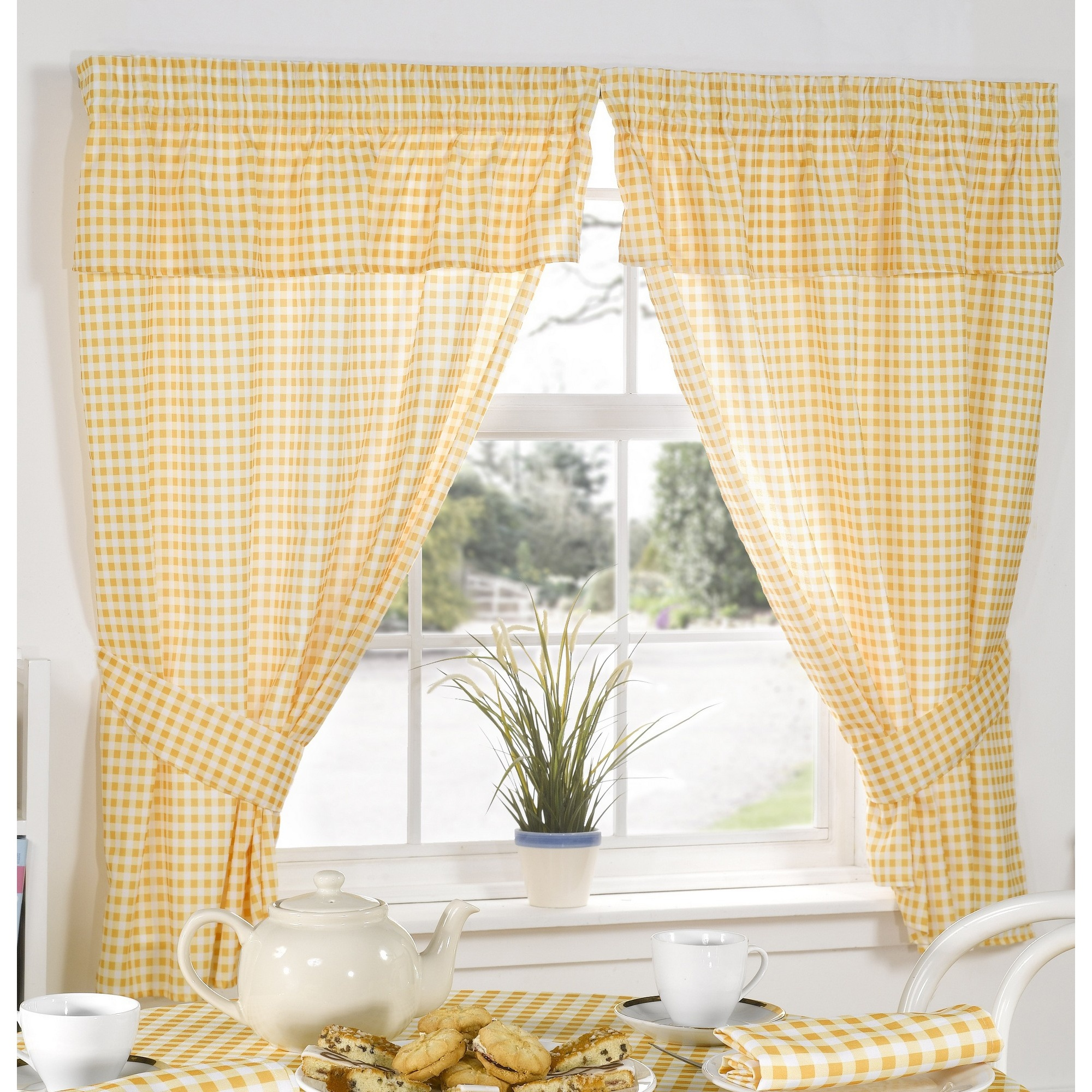 Molly Gingham Chequer Pattern Ready Made Curtains With