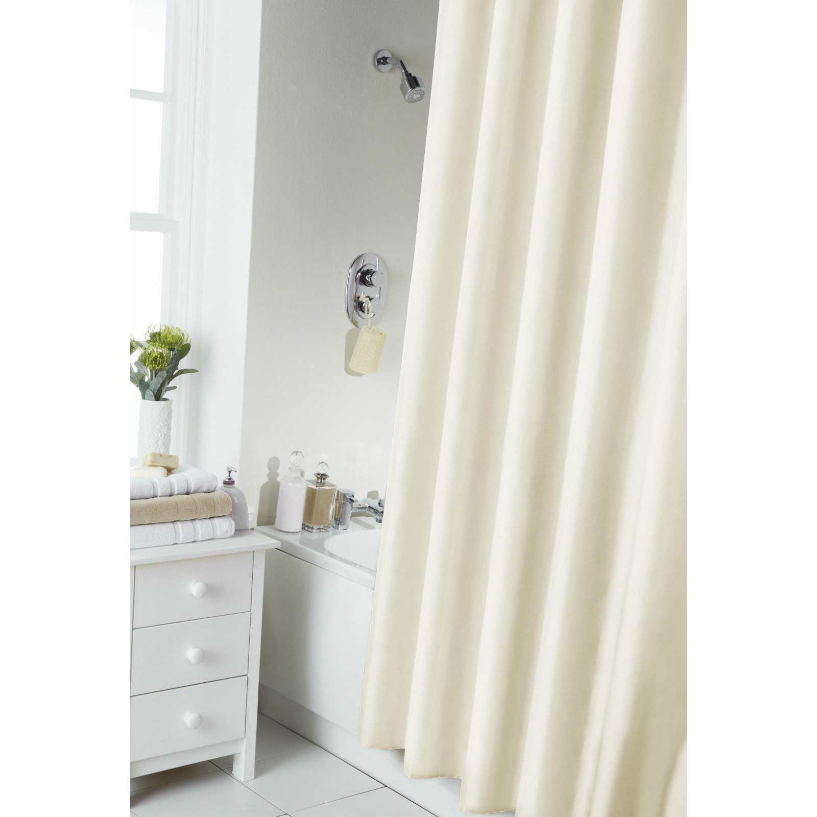 plain shower curtain with rail rings ebay. Black Bedroom Furniture Sets. Home Design Ideas