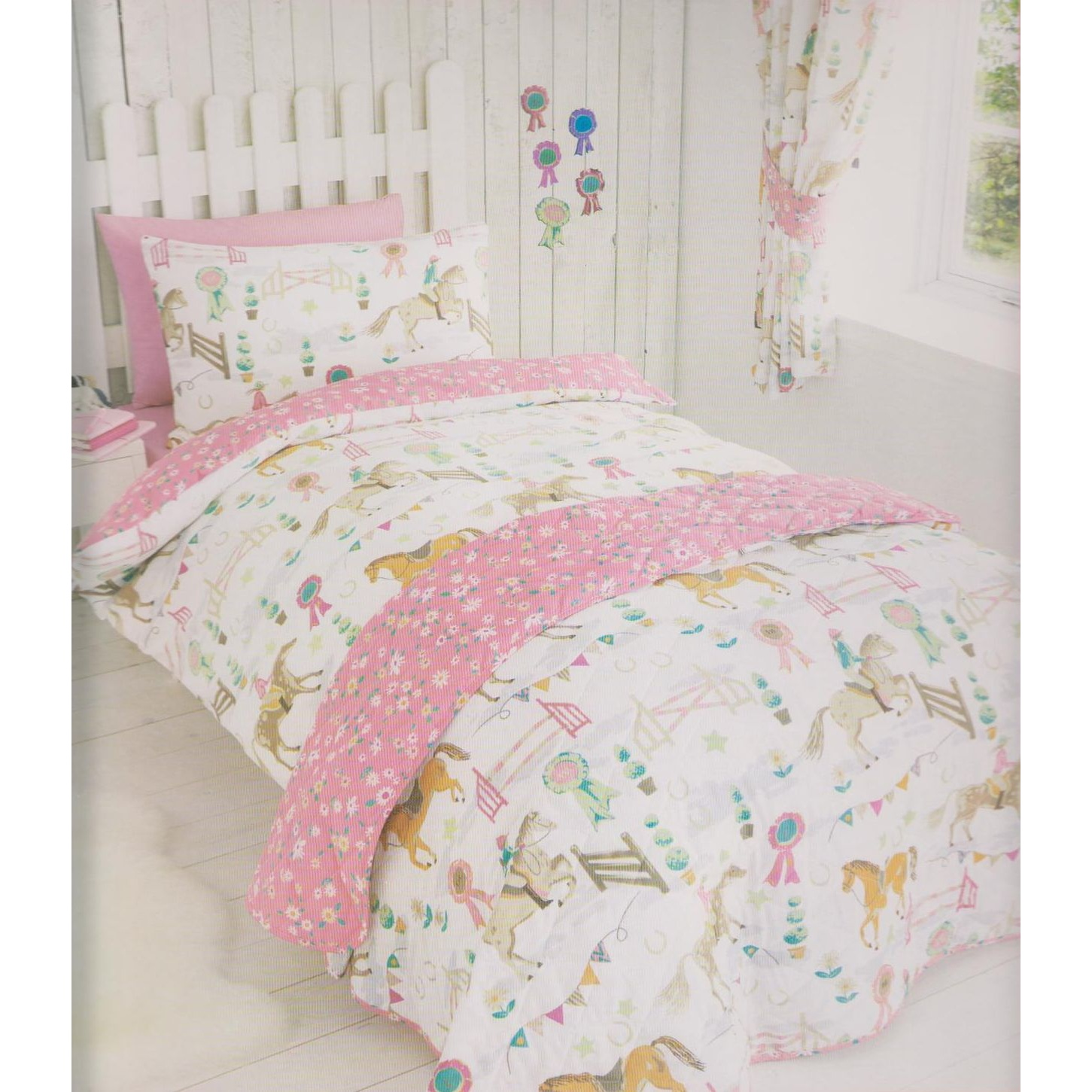 kids club girls horse show quilt cover bedding set twin full ebay. Black Bedroom Furniture Sets. Home Design Ideas