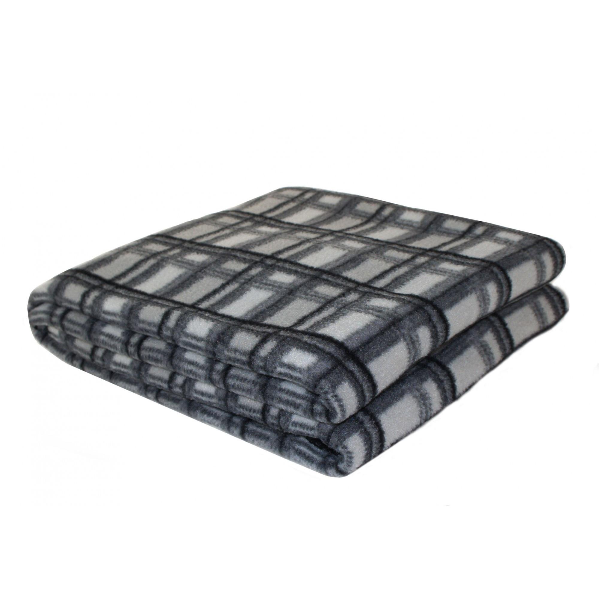 Home-Harmony-Printed-Check-Fleece-Blanket-Throw-MS570