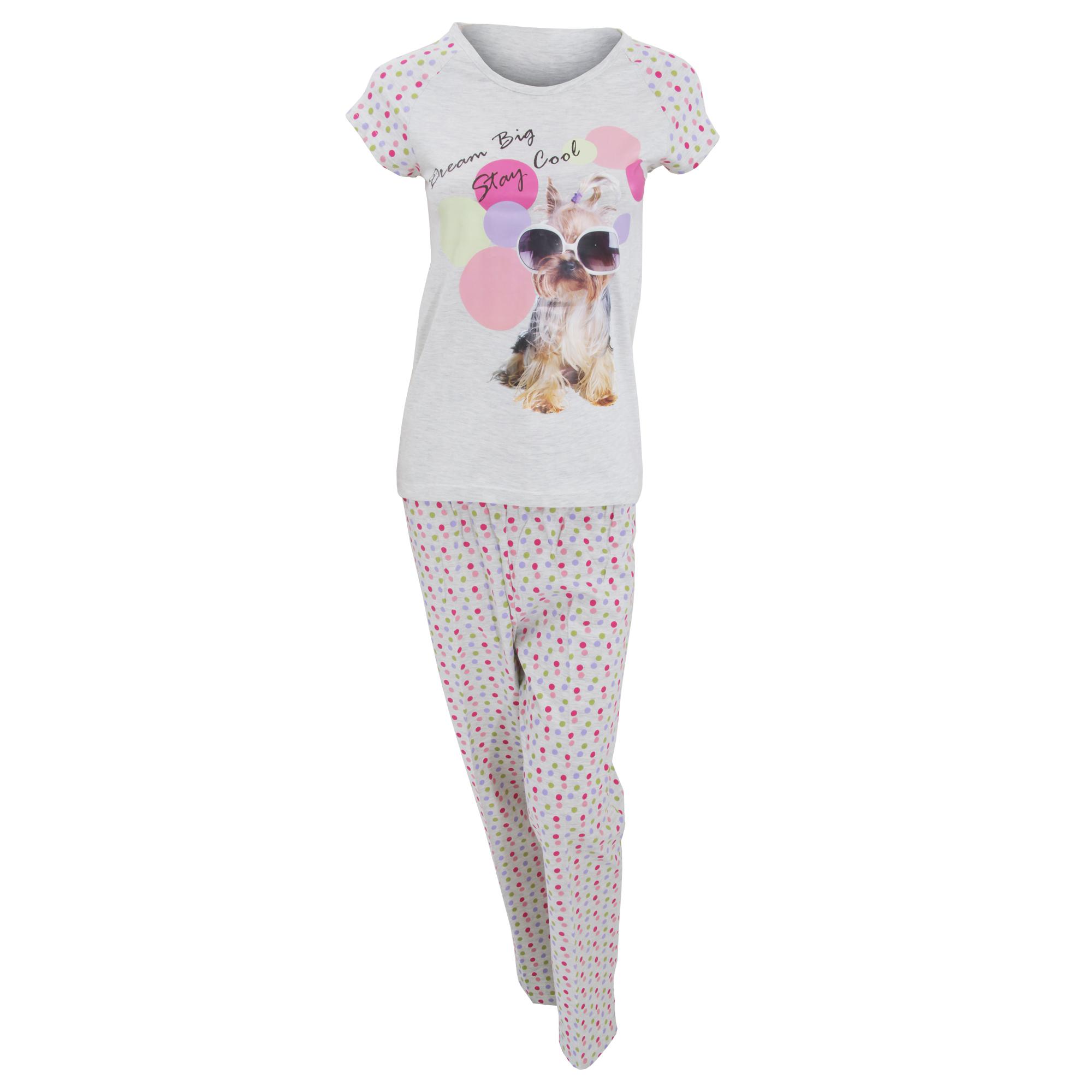 damen schlafanzug pyjama mit hundemotiv kurzarm t shirt und lange hose ebay. Black Bedroom Furniture Sets. Home Design Ideas